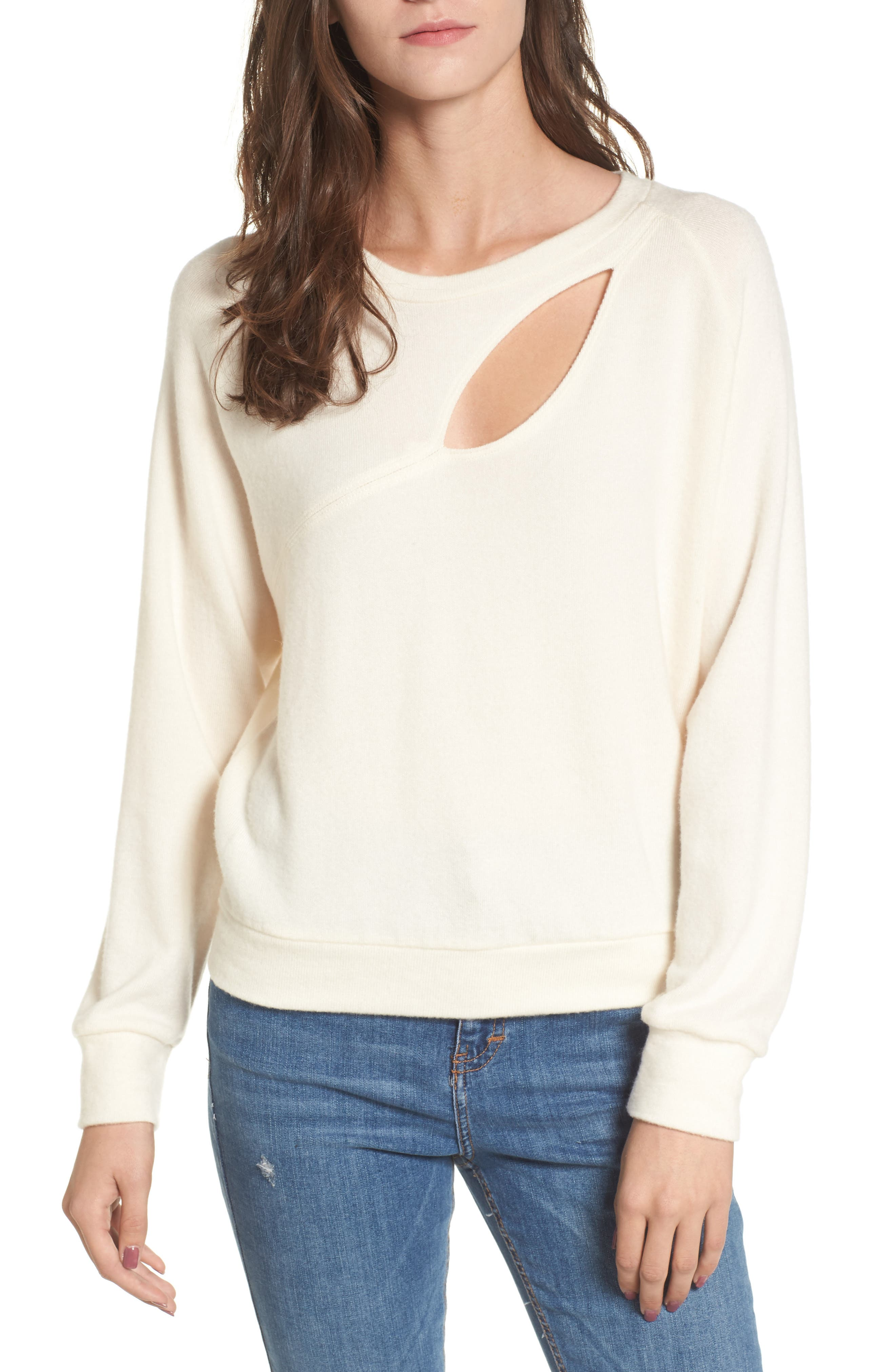 Phased Brushed Cutout Sweater,                         Main,                         color, Eggnog