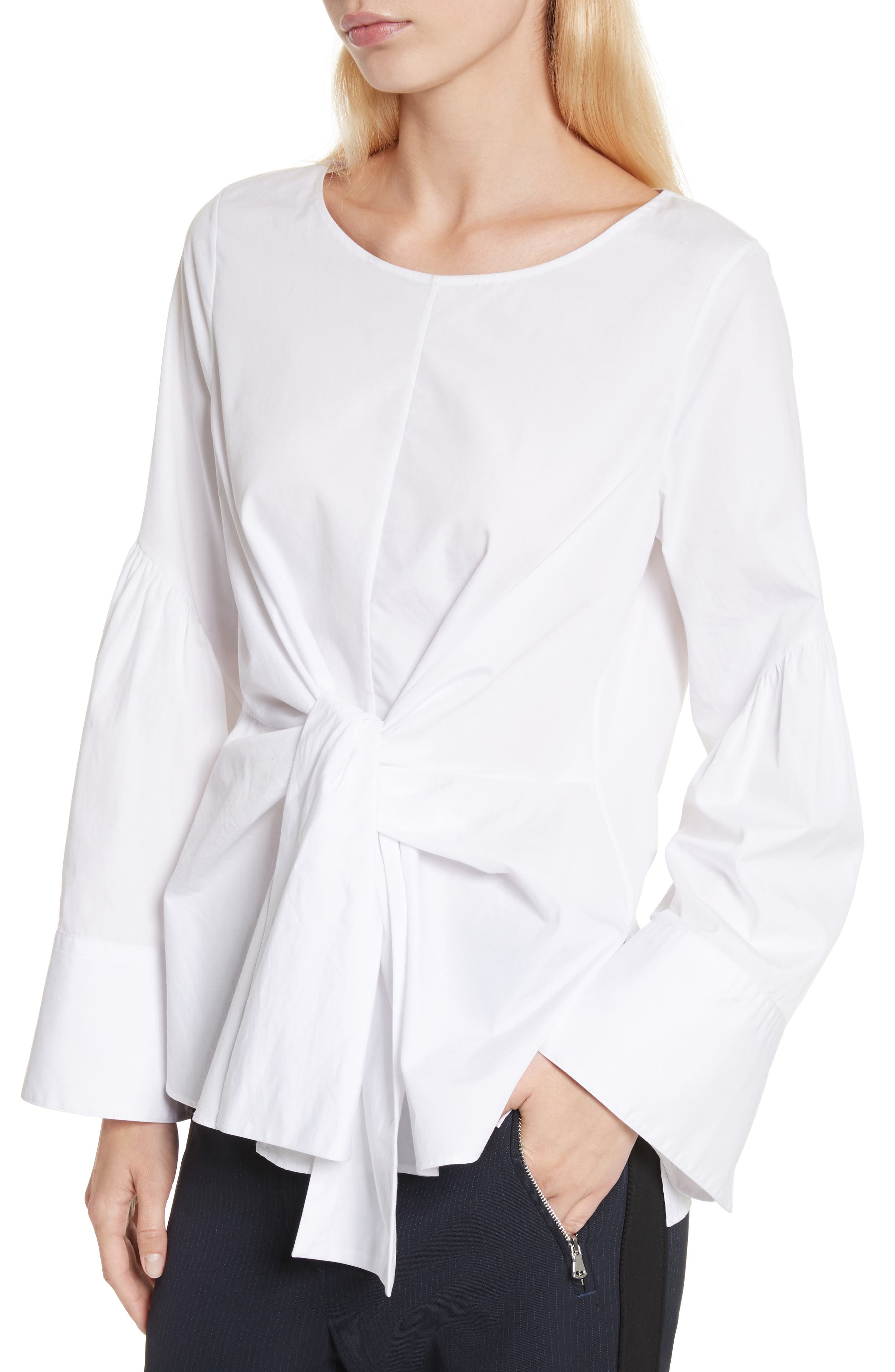 Tie Front Shirt,                             Alternate thumbnail 3, color,                             White