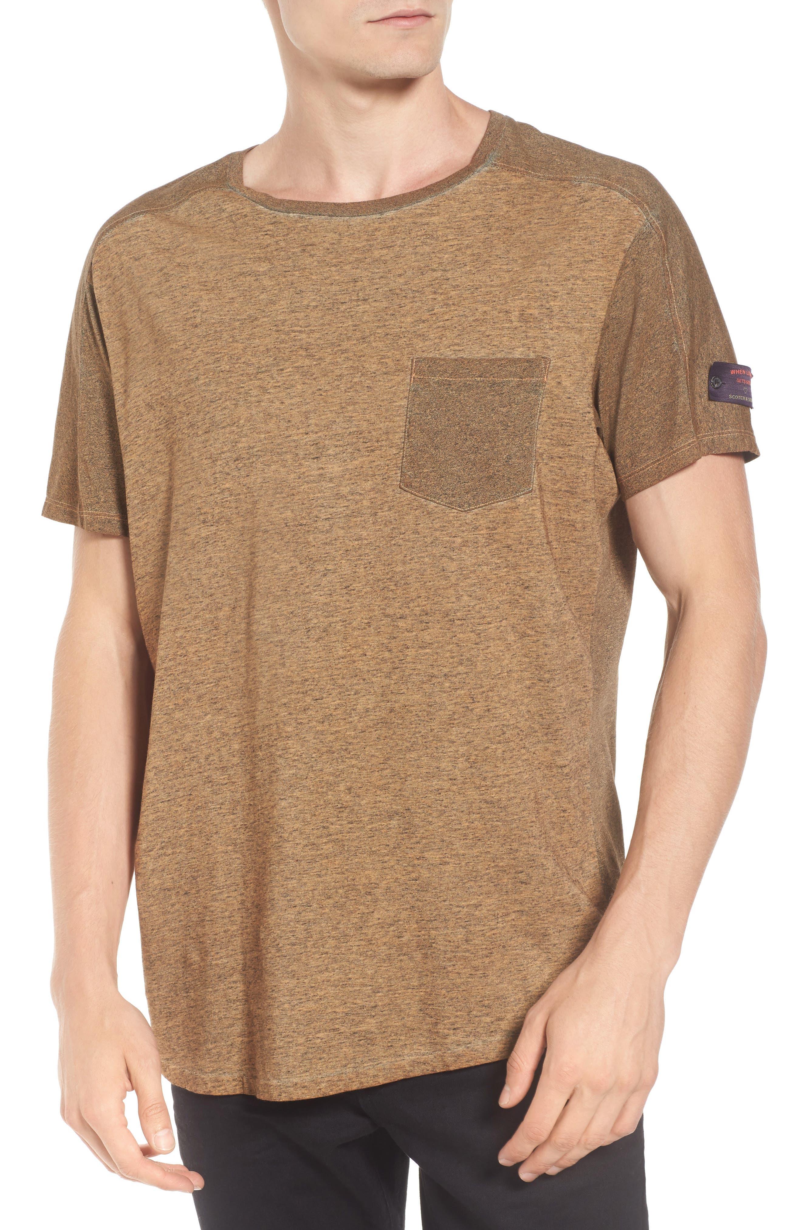Oil-Washed Pocket T-Shirt,                         Main,                         color, Ginger