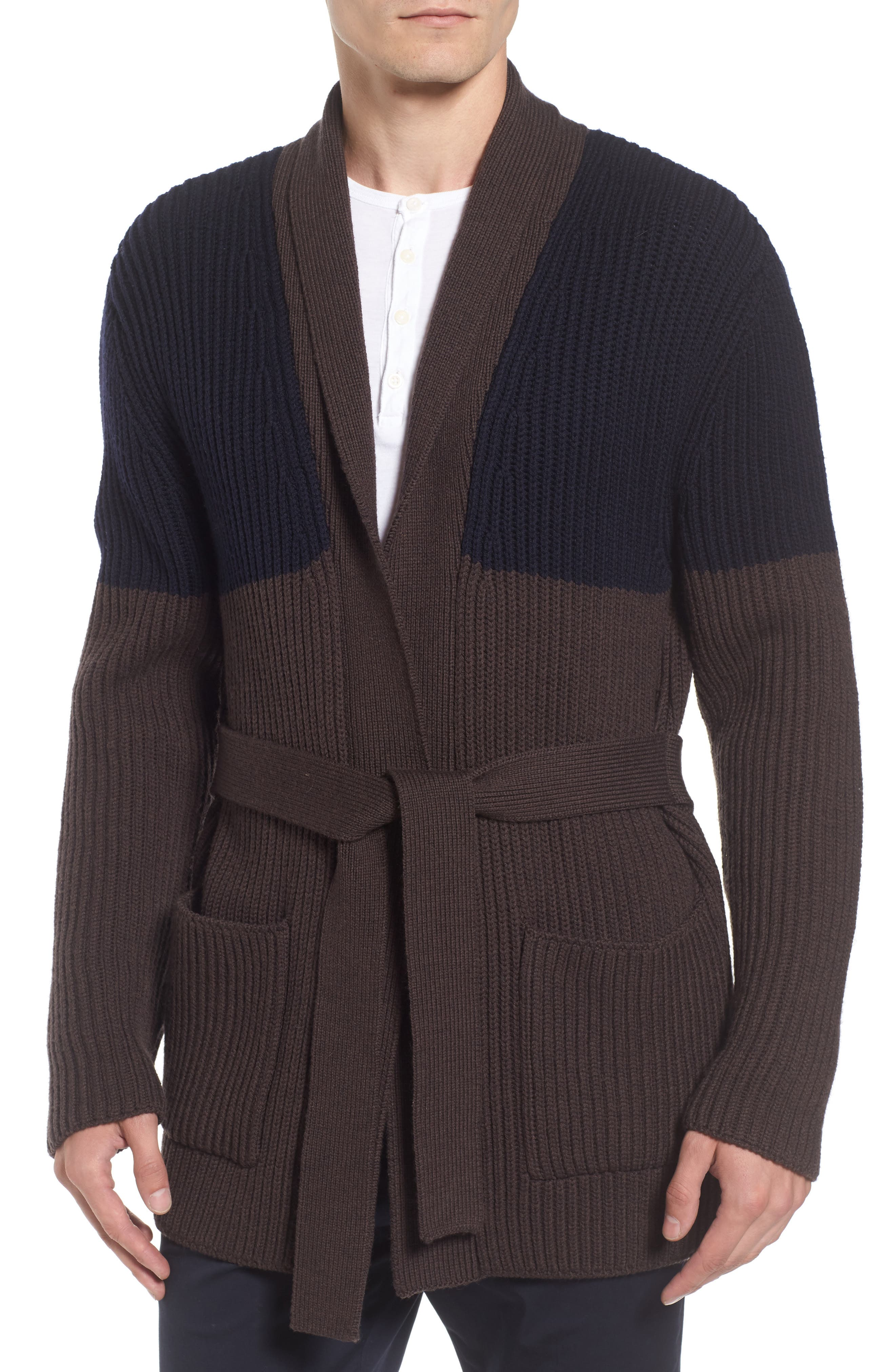Colorblock Wool Wrap Sweater,                         Main,                         color, Navy/ Brown