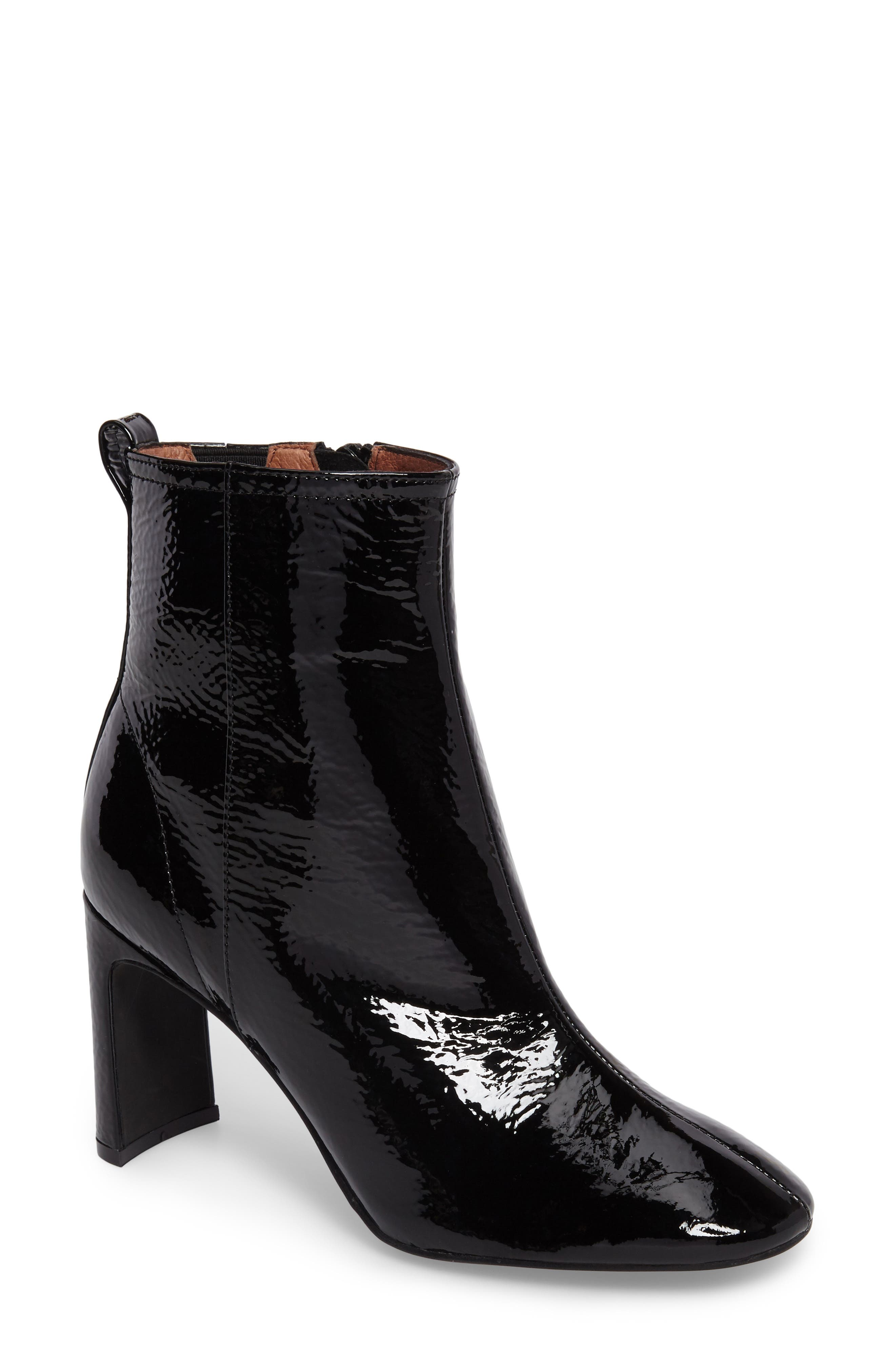 Chapel Curved Heel Bootie,                             Main thumbnail 1, color,                             Black Crinkle Patent
