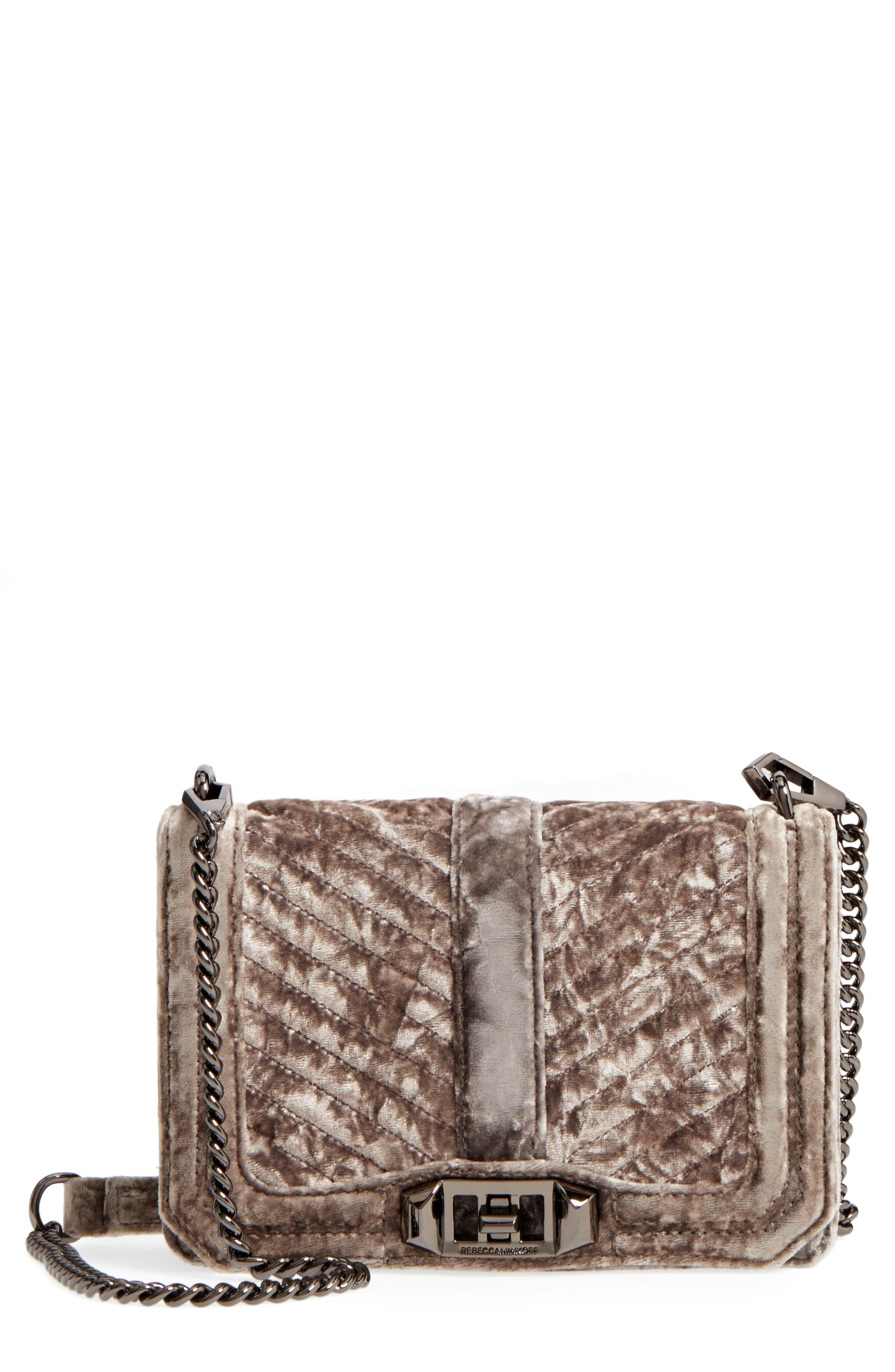 'Velvet Love' Crossbody Bag,                             Main thumbnail 1, color,                             Grey