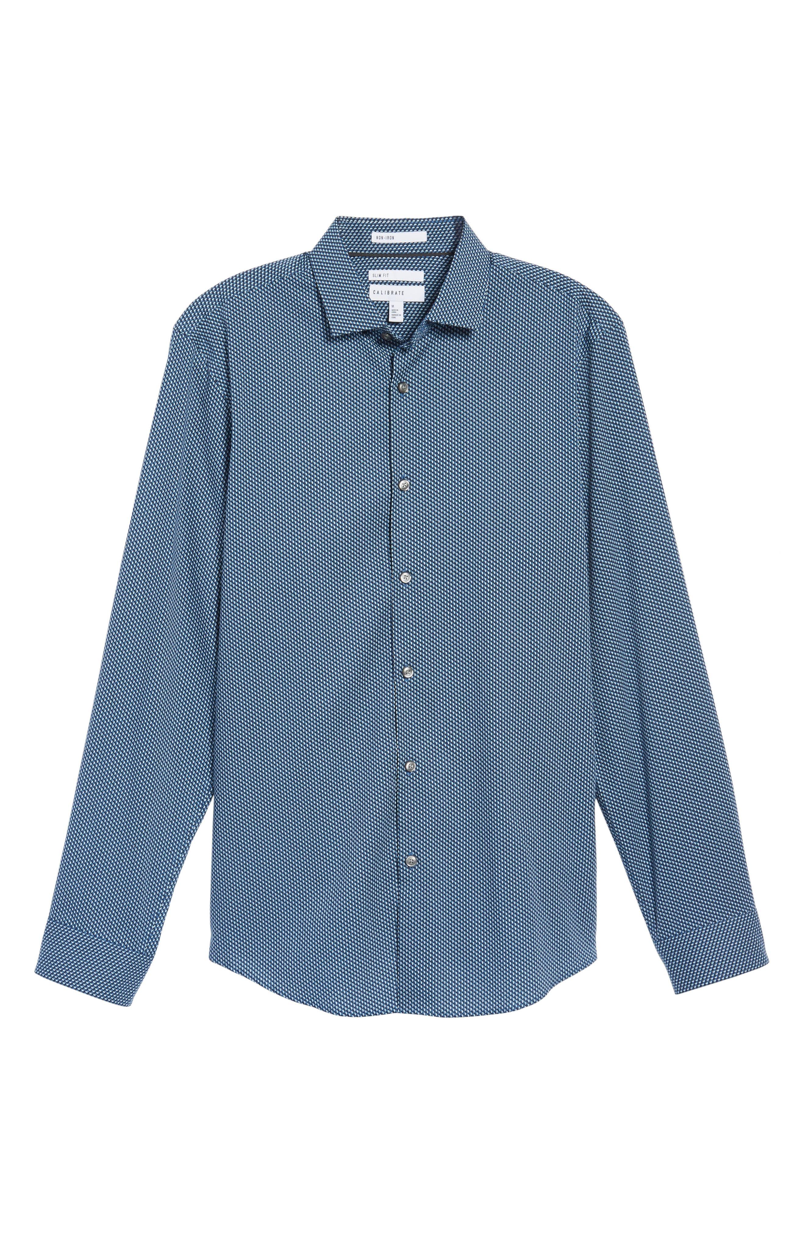 Print Sport Shirt,                             Alternate thumbnail 6, color,                             Blue Ice Navy Geo Print
