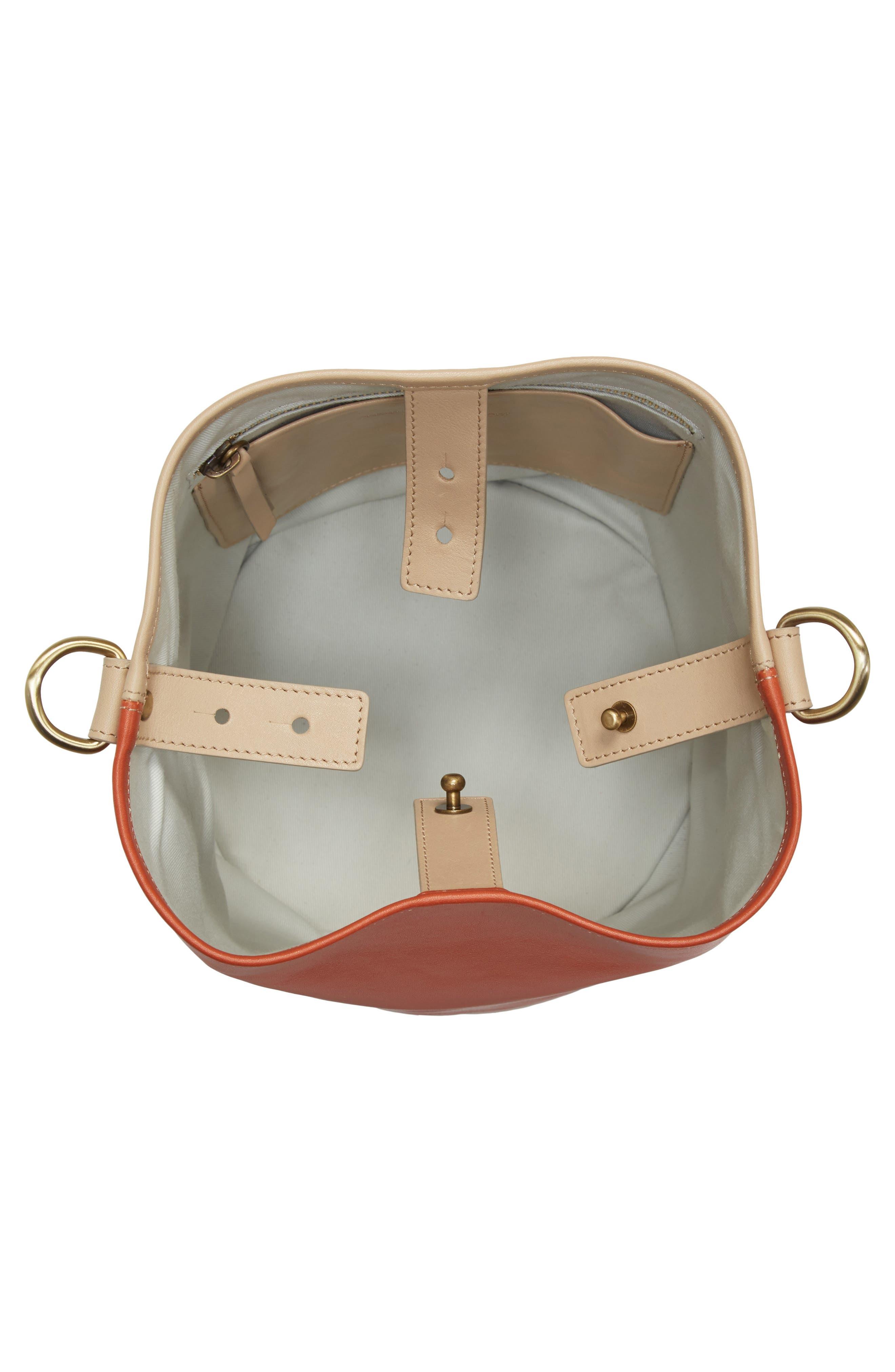 Small Bucket Bicolor Leather Bag,                             Alternate thumbnail 4, color,                             Clove/ Cappuccino