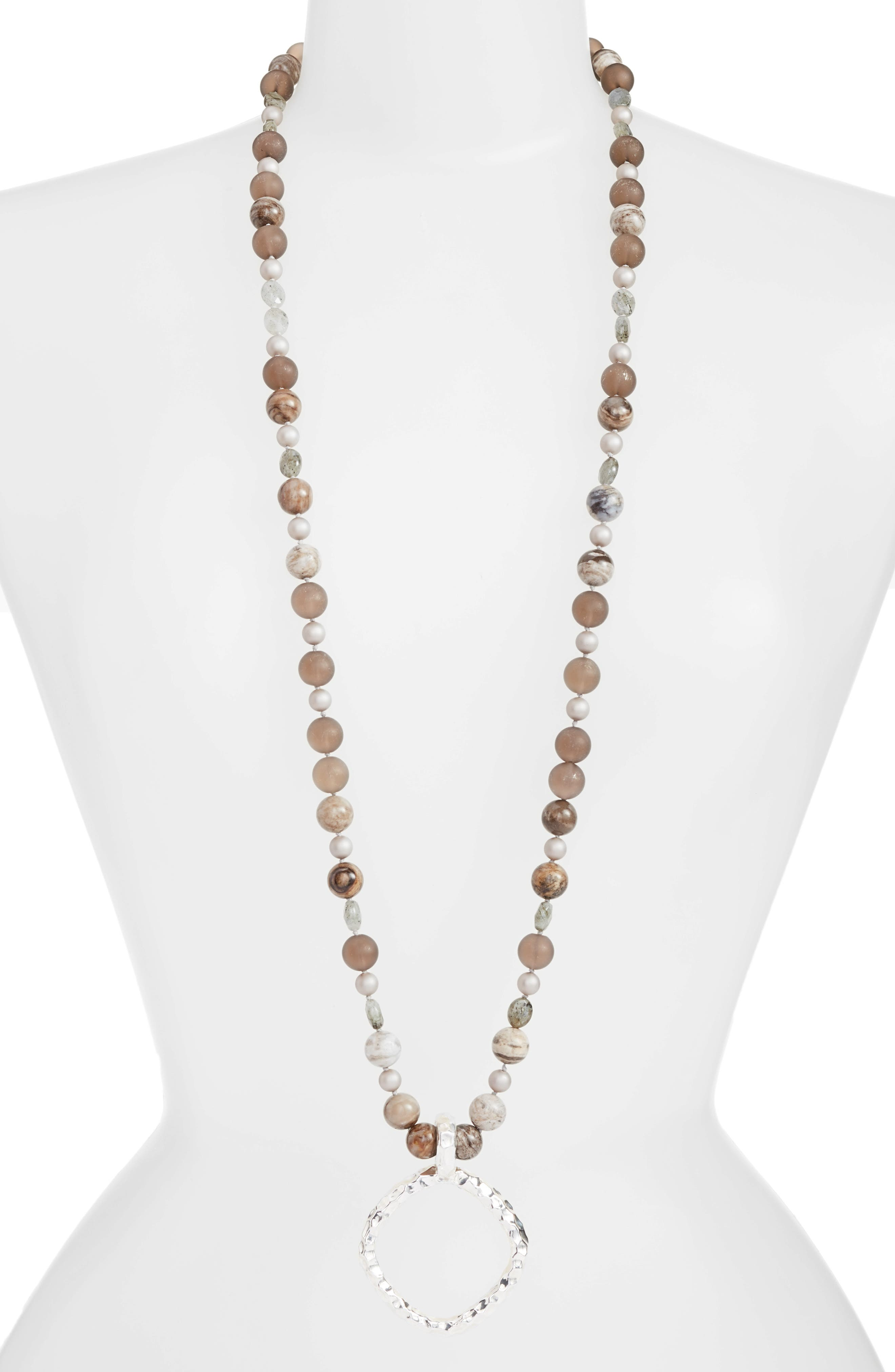 Long Beaded Necklace,                         Main,                         color, Multi