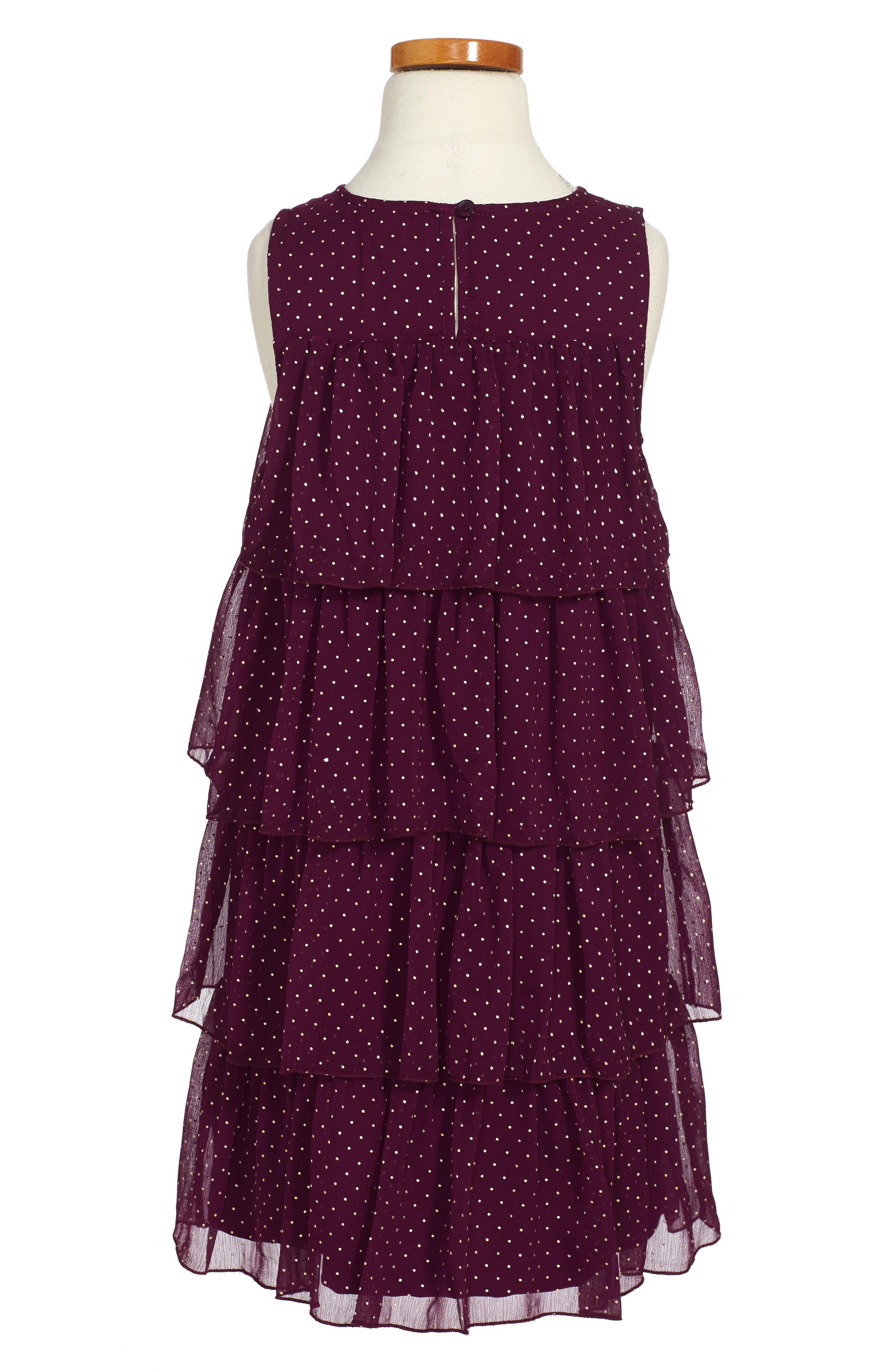 Tiered Dot Dress,                             Alternate thumbnail 2, color,                             Purple Dark