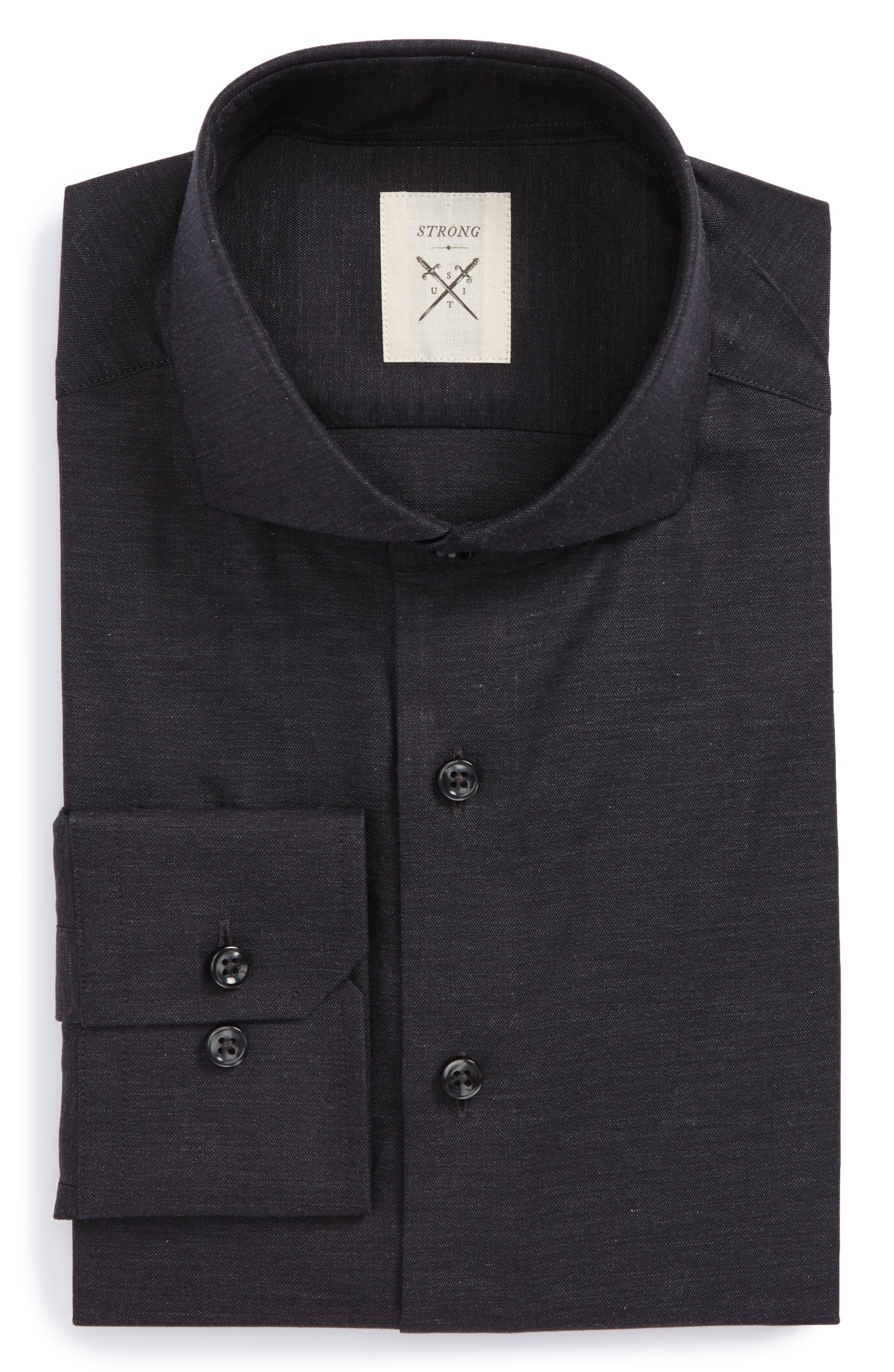 Trim Fit Herringbone Dress Shirt,                         Main,                         color, Charcoal