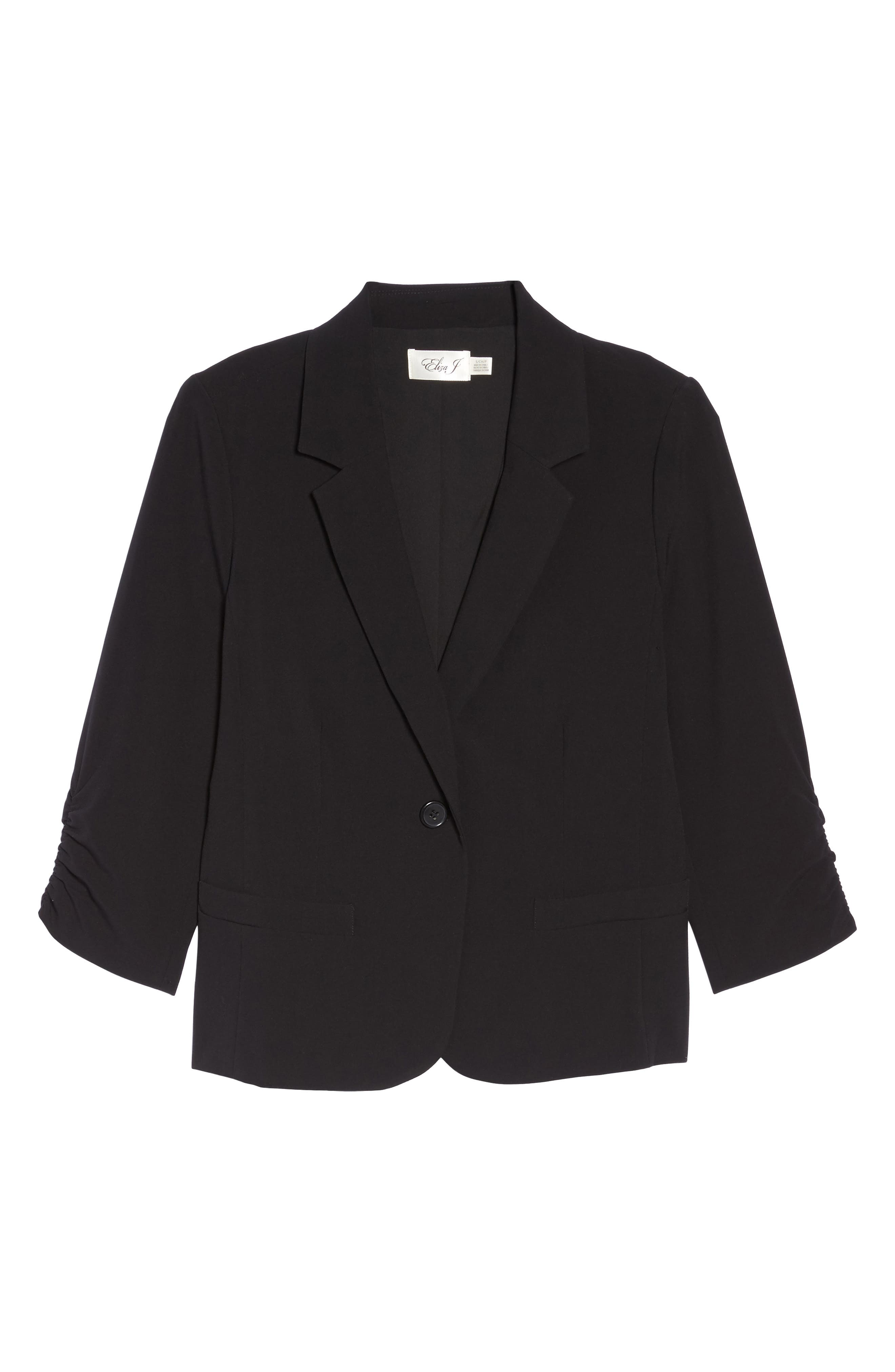 Ruched Sleeve Blazer,                             Alternate thumbnail 6, color,                             Black