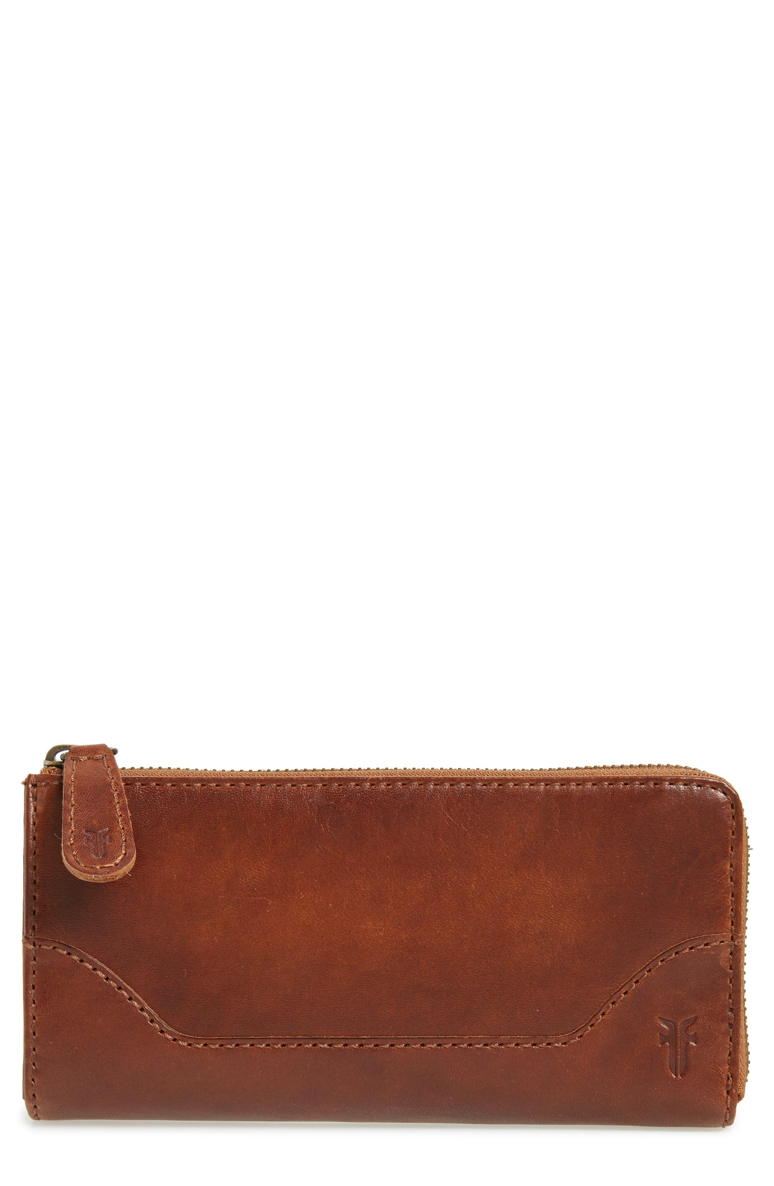 Melissa Leather Wallet,                         Main,                         color, Cognac
