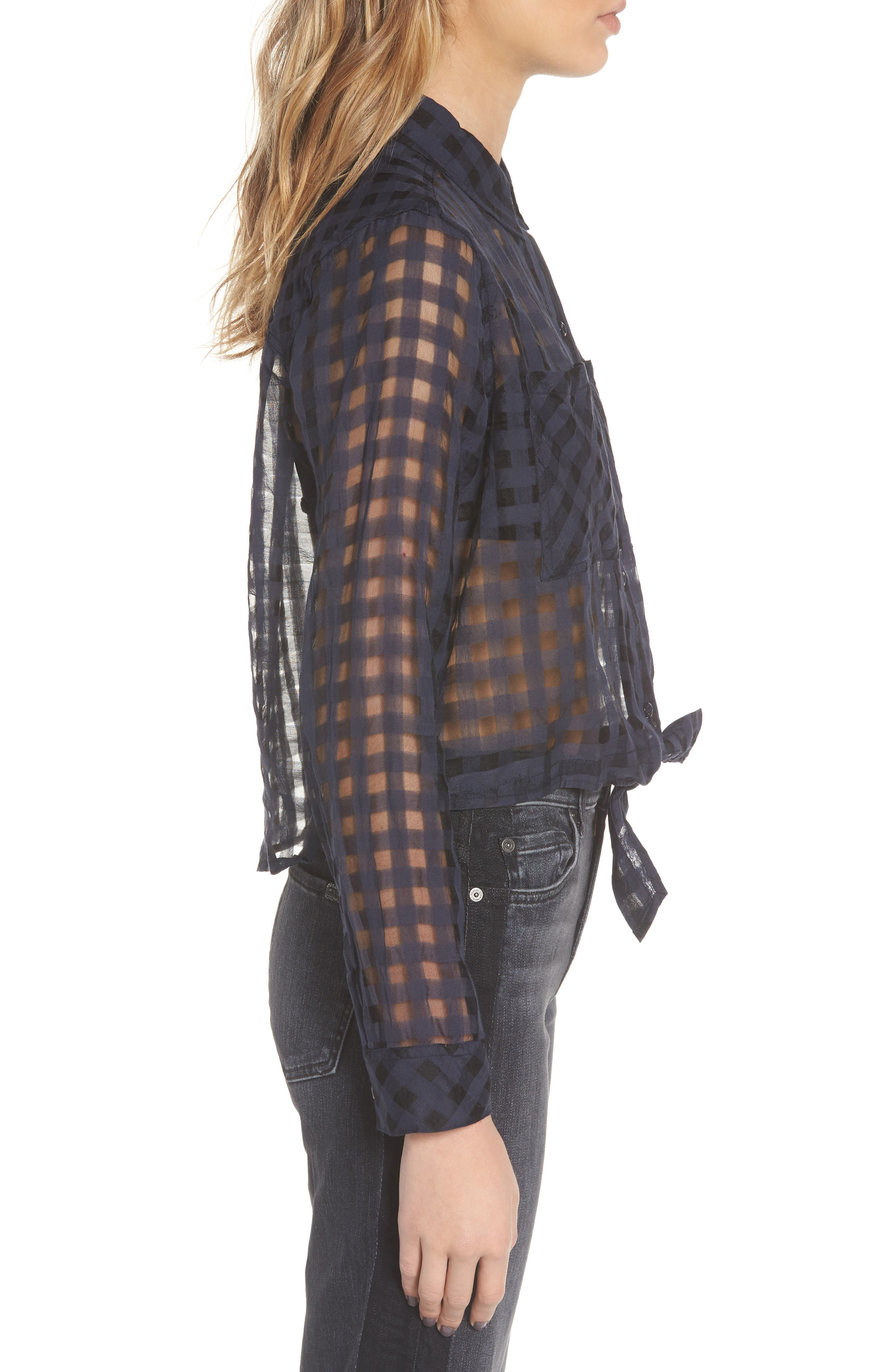 Kelsey Sheer Tie Front Shirt,                             Alternate thumbnail 3, color,                             Midnight Shadow Check