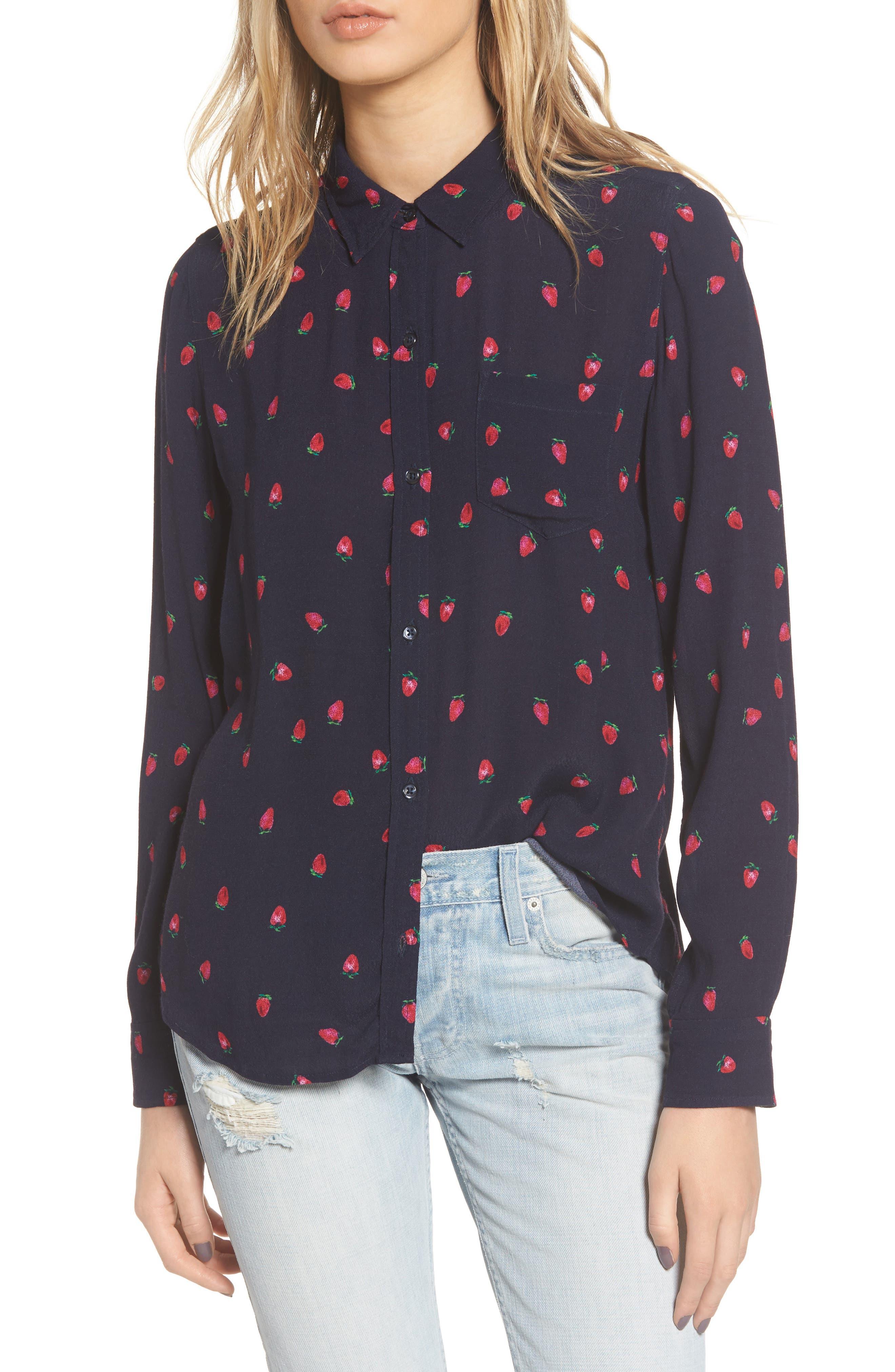 Rails Kate Strawberry Print Silk Shirt