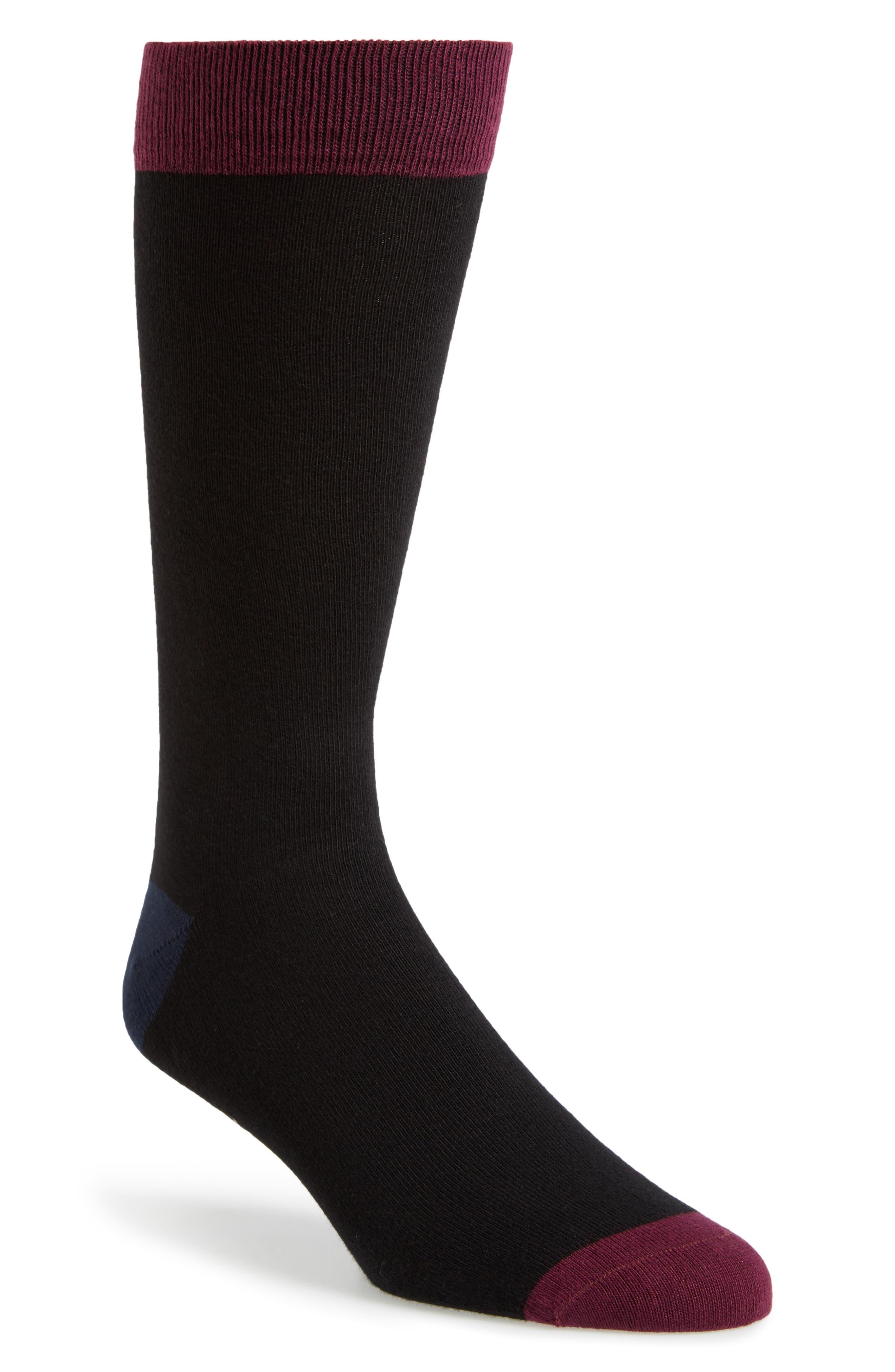 Gele Colorblock Socks,                         Main,                         color, Black