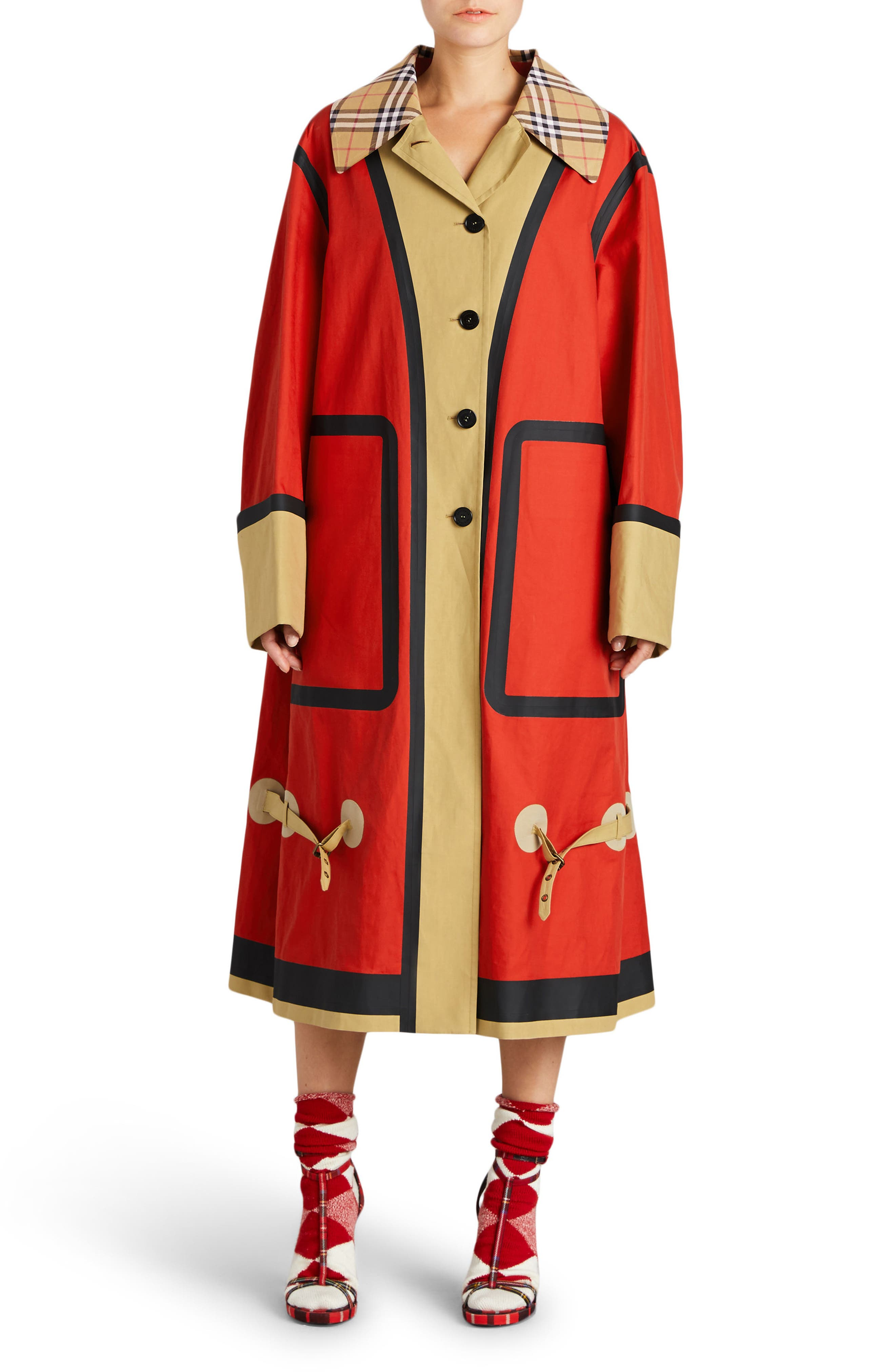Colorblock Cotton Car Coat,                         Main,                         color, Red/ Beige