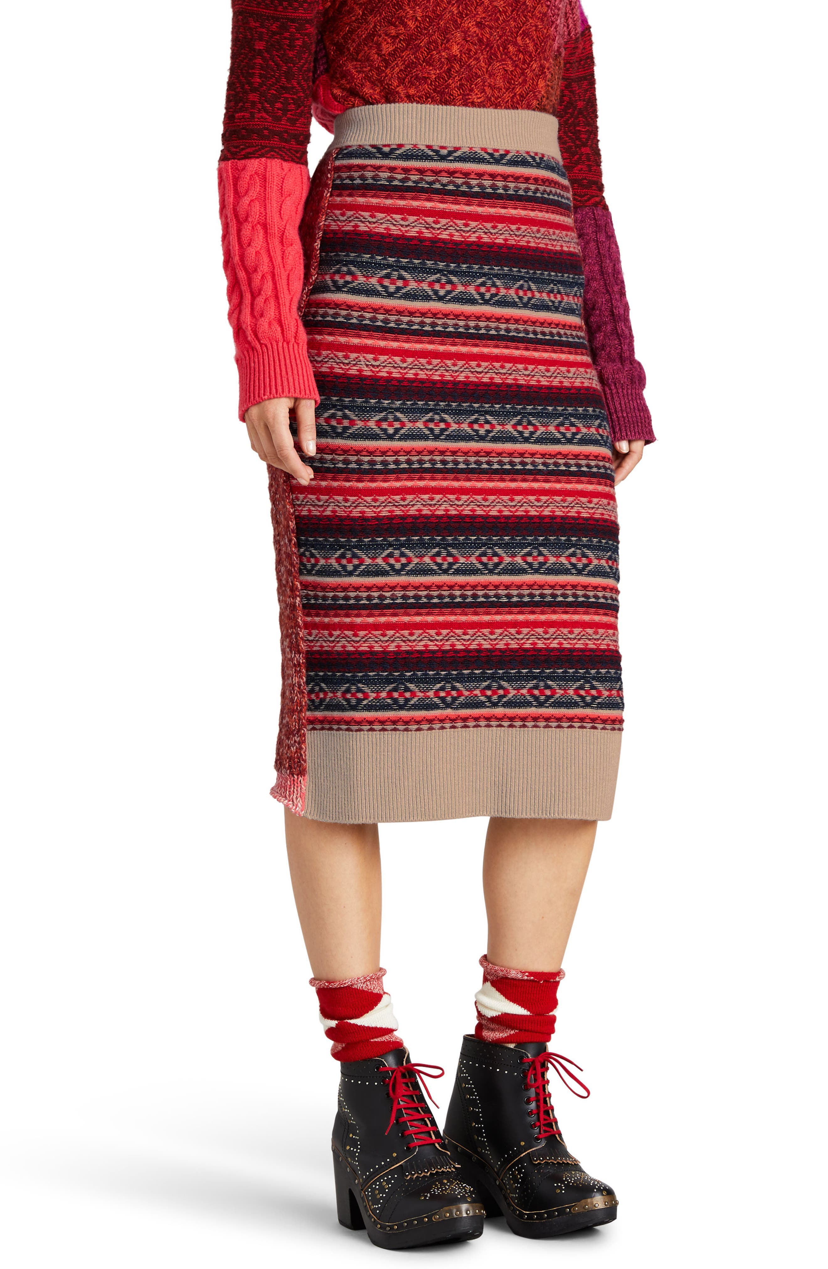 Knit Wool Blend Pencil Skirt,                             Main thumbnail 1, color,                             Multicolor