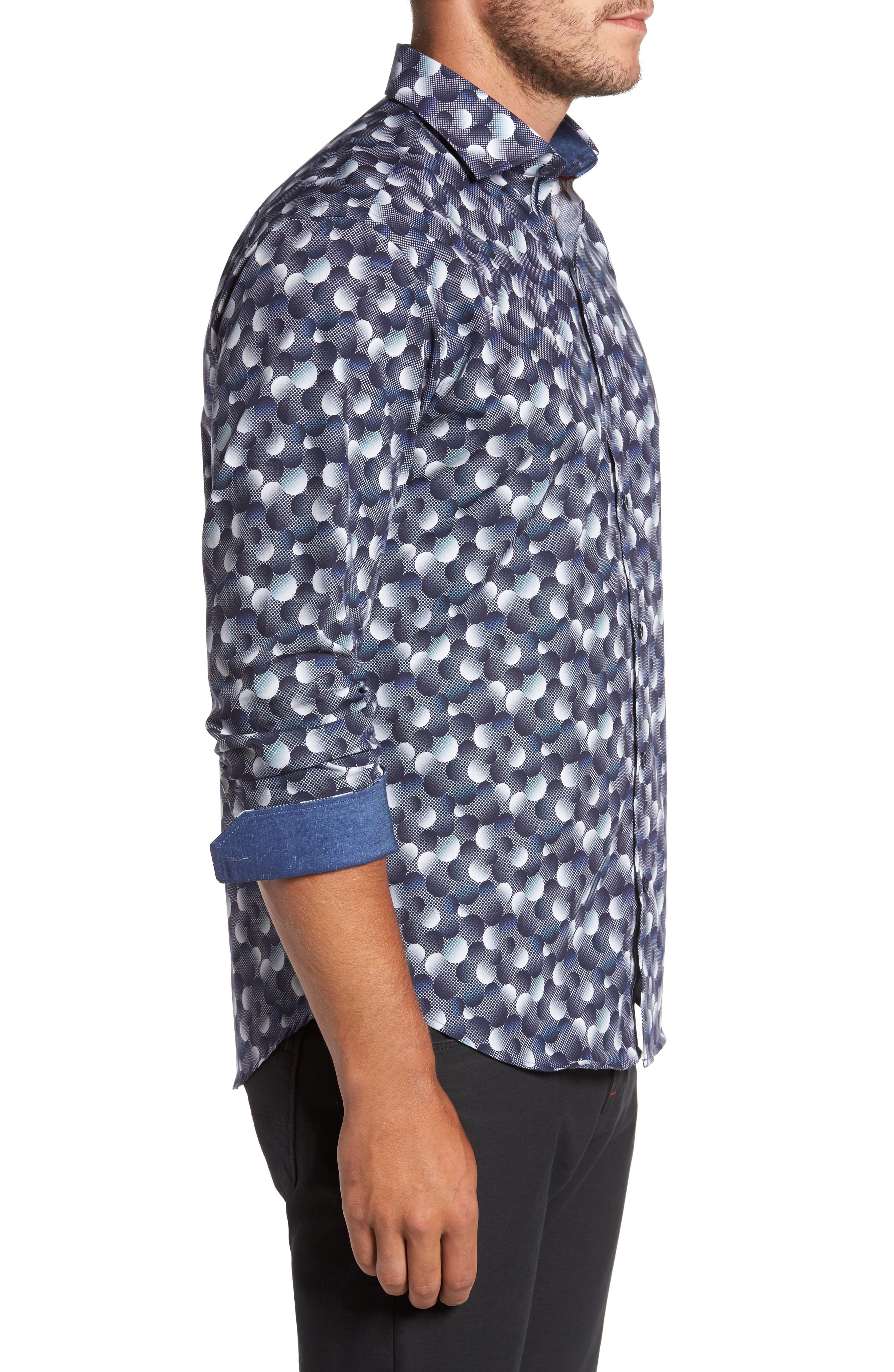 Trim Fit Circle Print Sport Shirt,                             Alternate thumbnail 3, color,                             Graphite