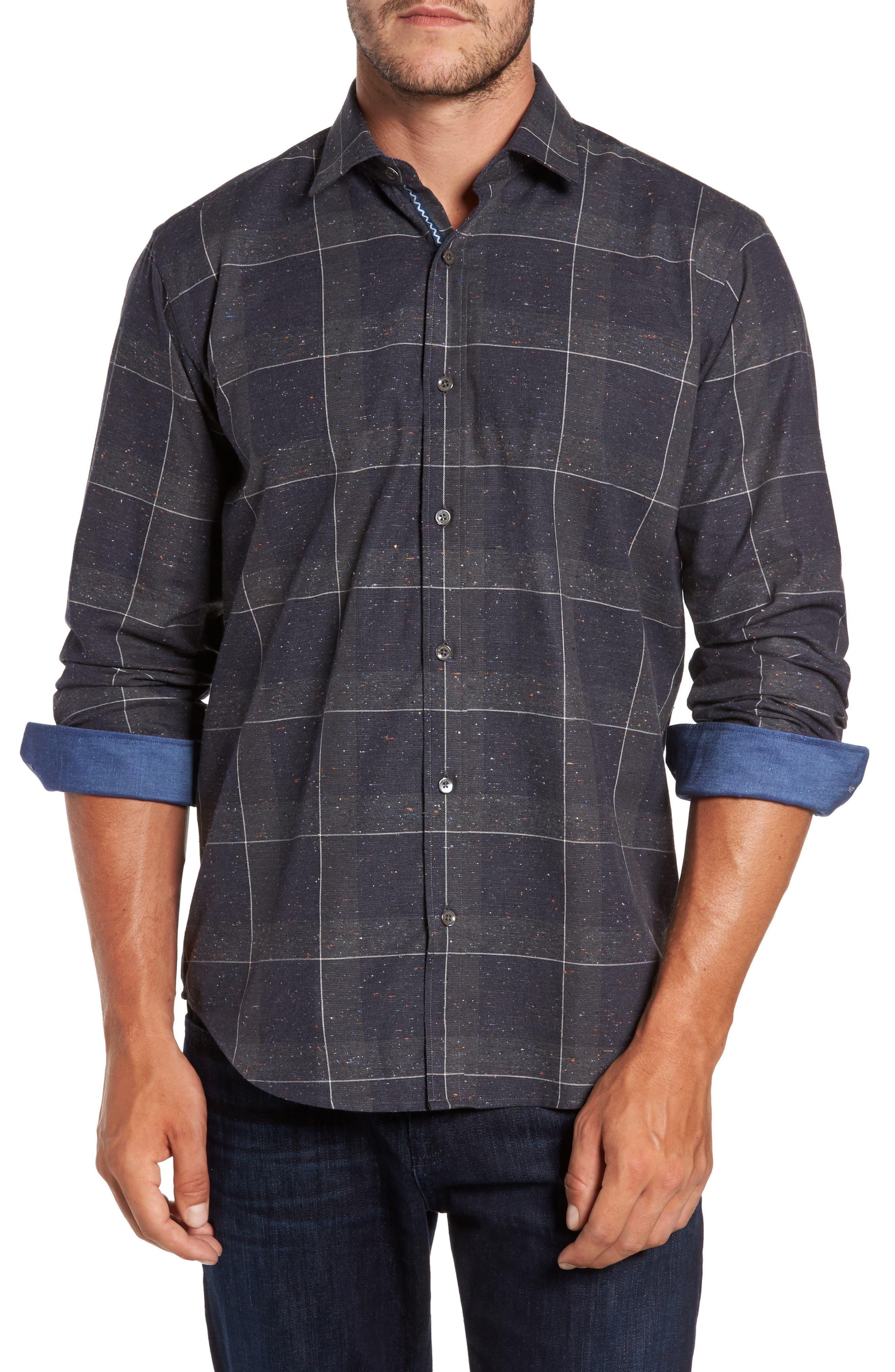Classic Fit Slubbed Tattersall Sport Shirt,                         Main,                         color, Graphite