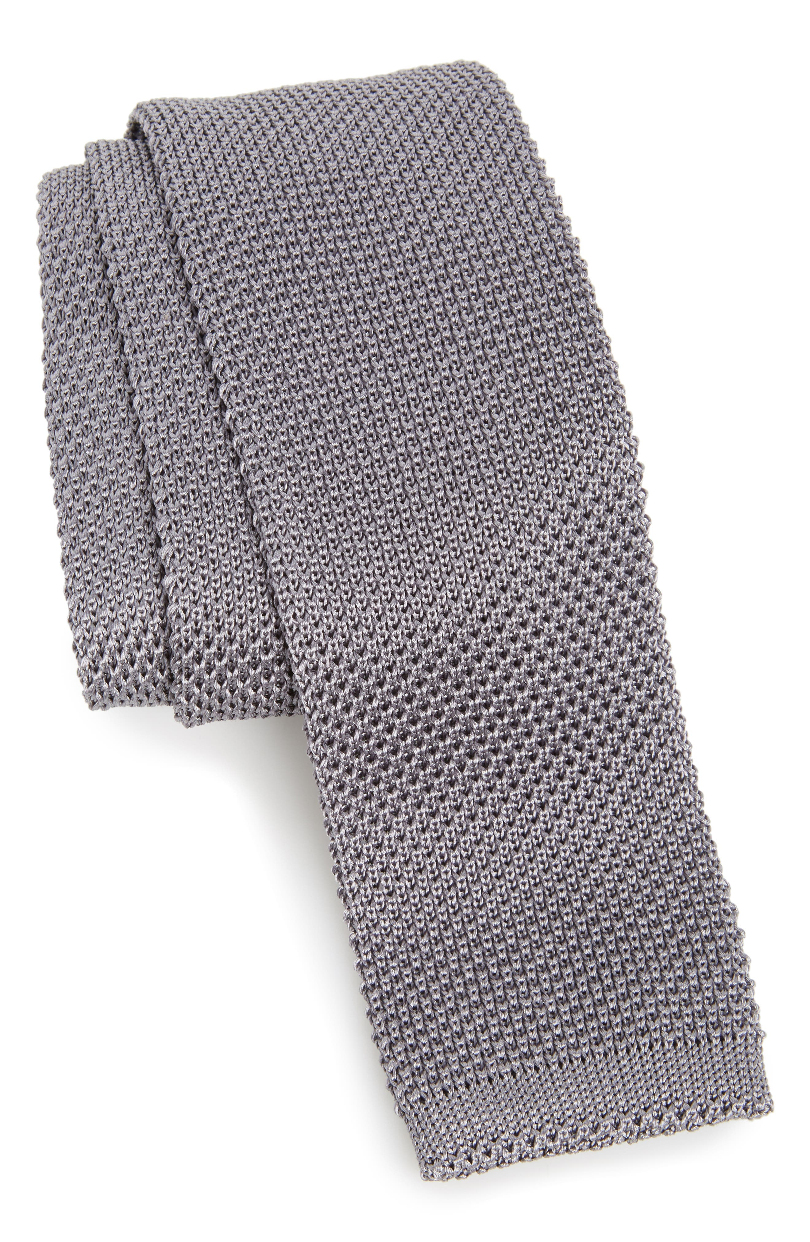 Stuart Silk Knit Tie,                         Main,                         color, Grey