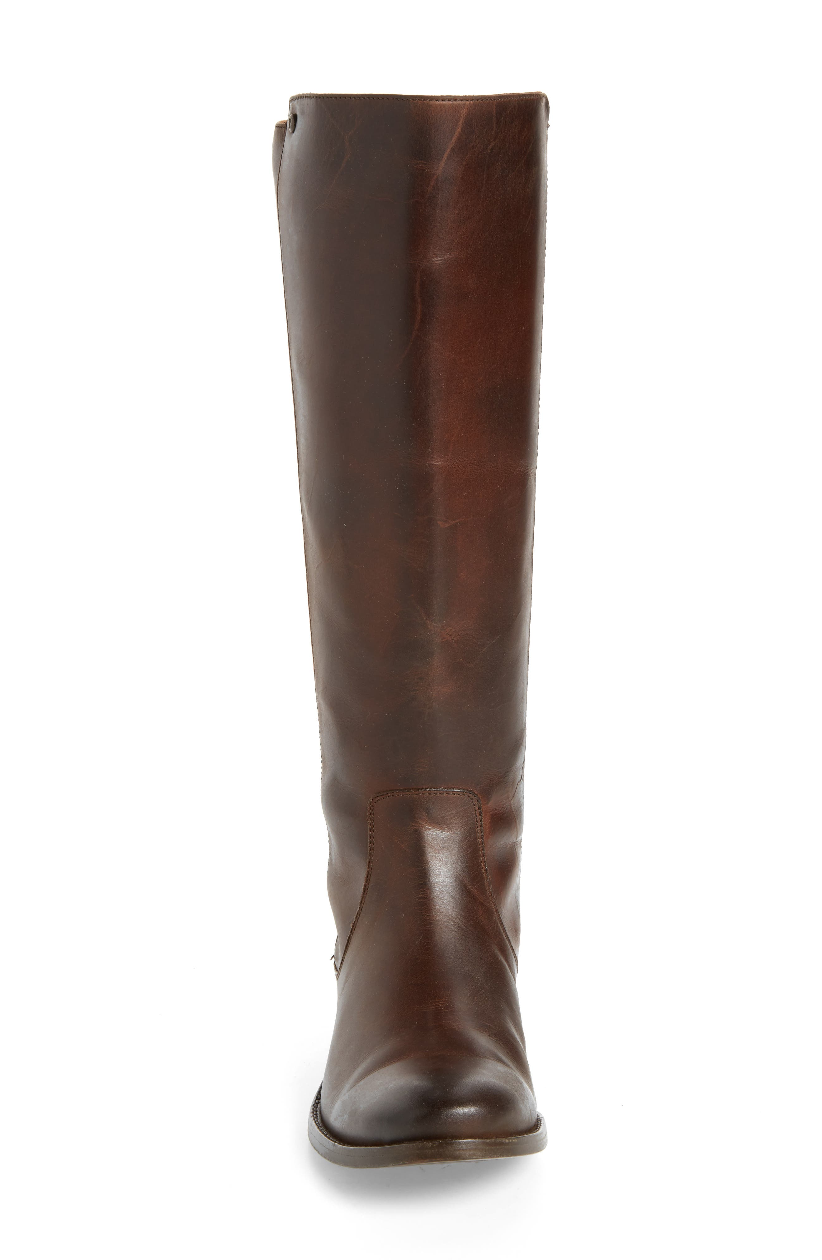 Melissa Stud Knee High Boot,                             Alternate thumbnail 4, color,                             Chocolate Leather