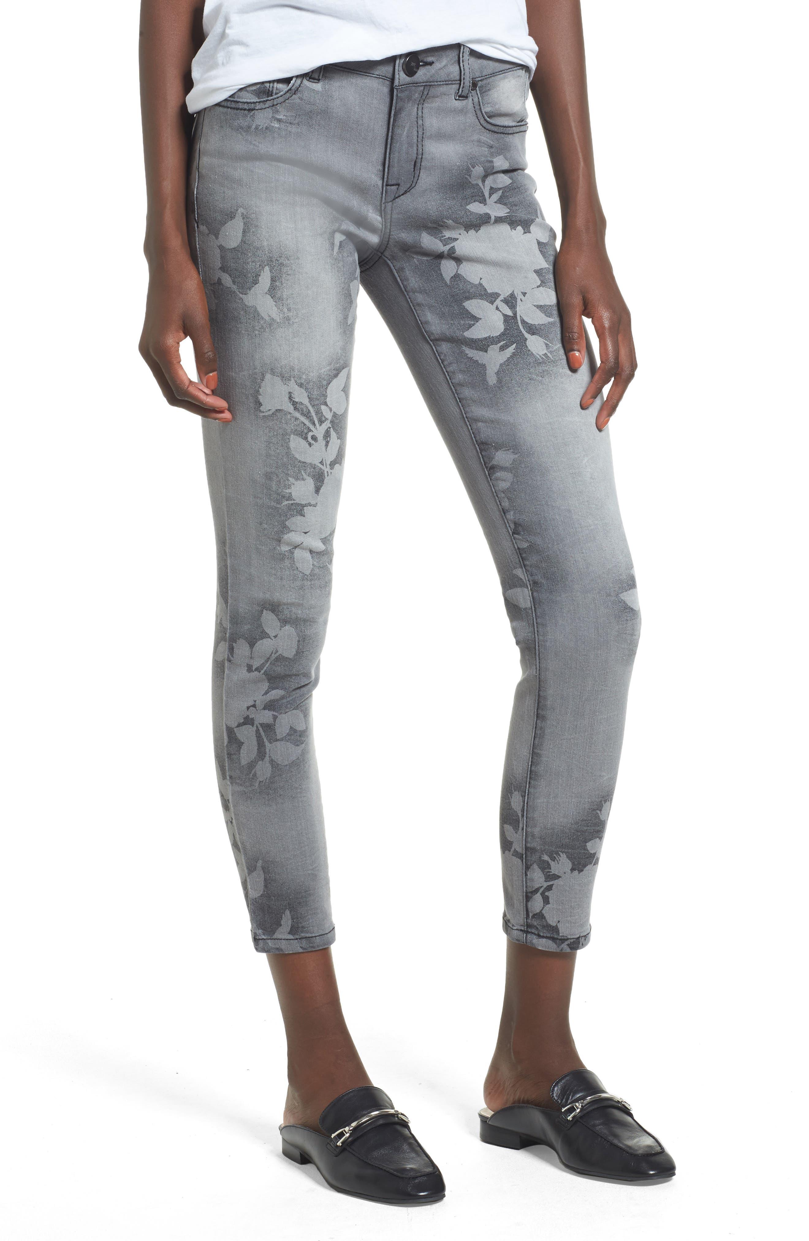 Floral Wash Crop Skinny Jeans,                         Main,                         color, Grey