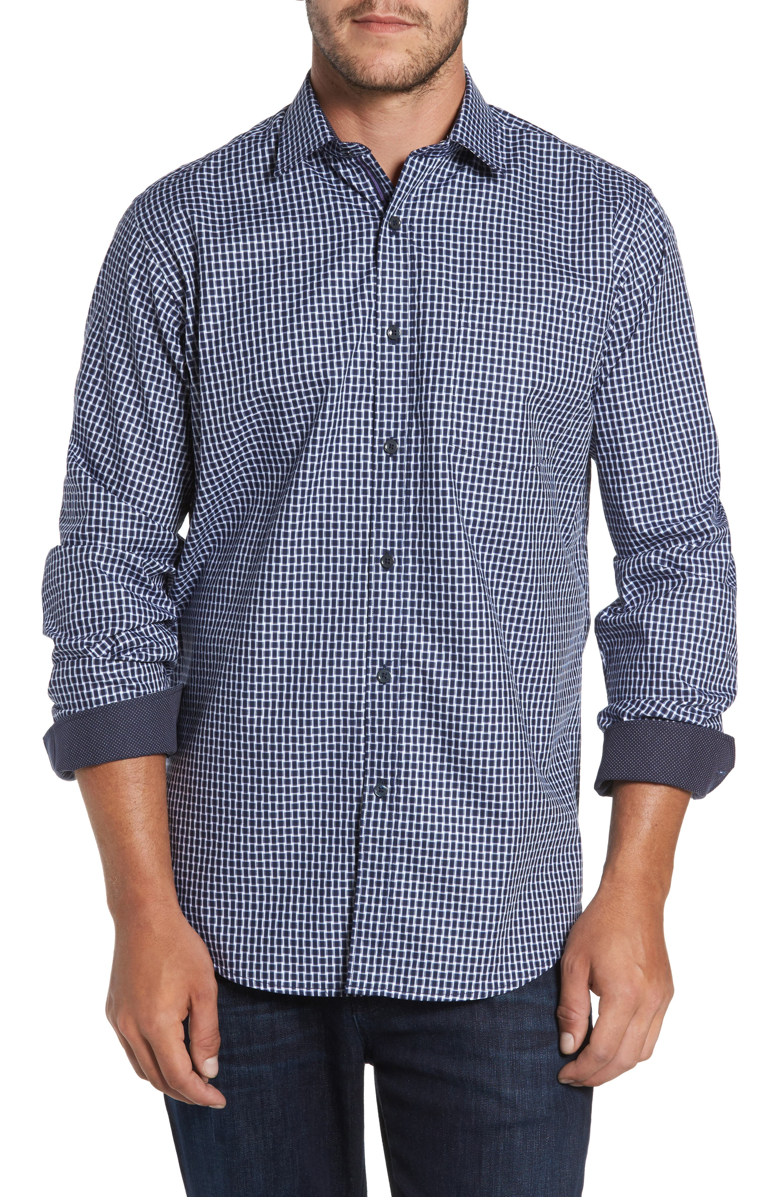 Classic Fit Geo Patterned Sport Shirt,                             Main thumbnail 1, color,                             Navy