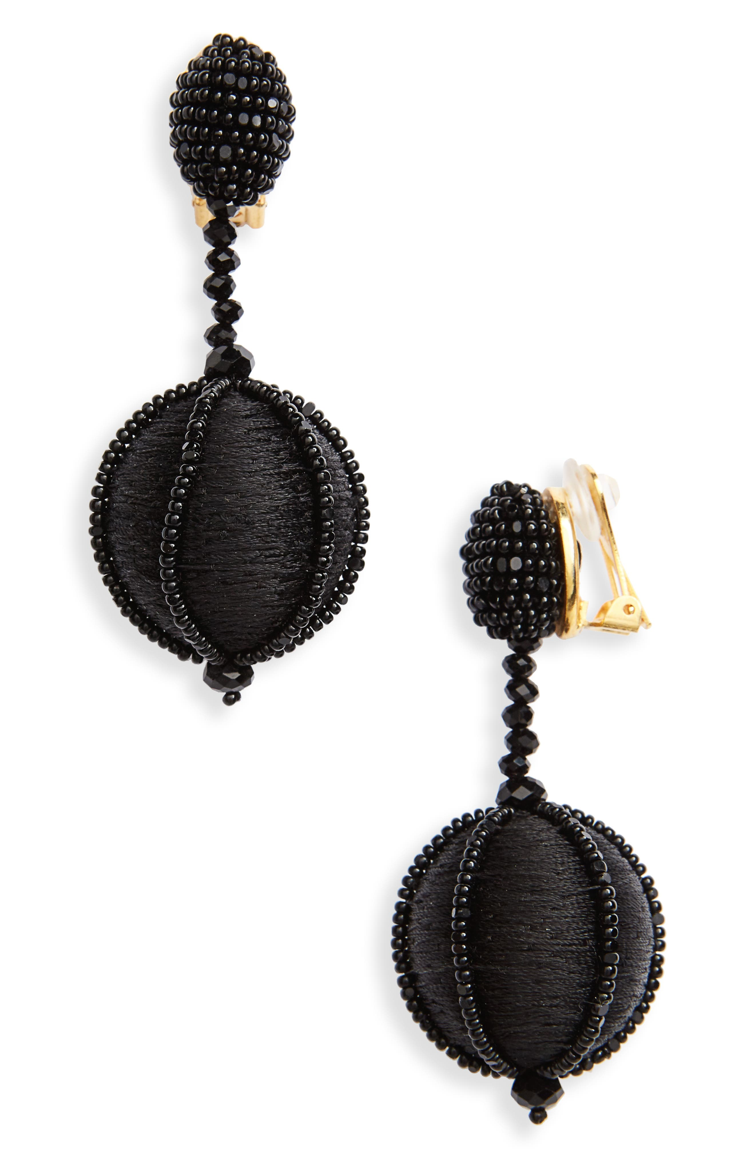 Dropped Ball Clip-On Earrings,                         Main,                         color, Black