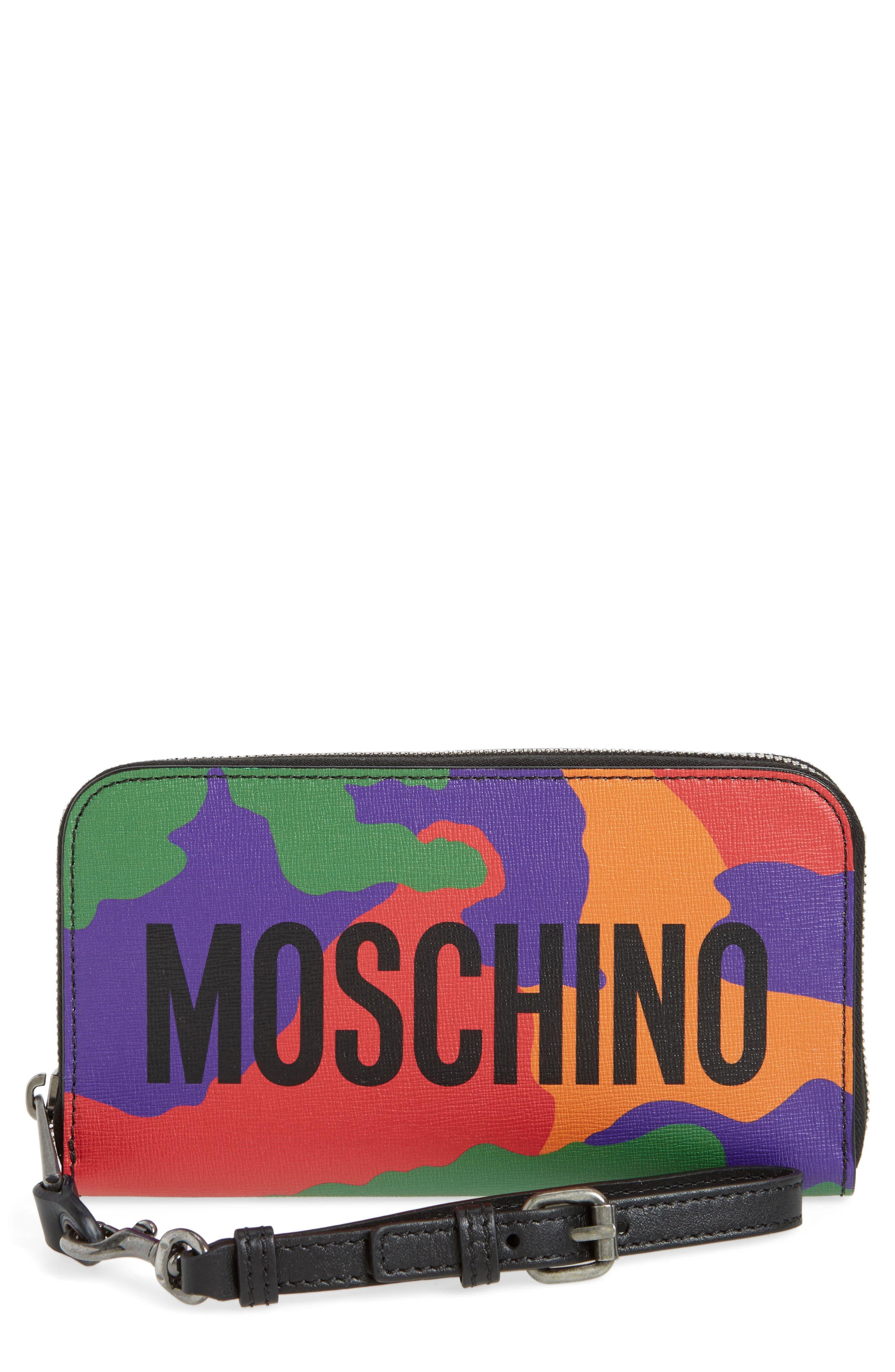 Main Image - Moschino Zip Around Camo Wristlet