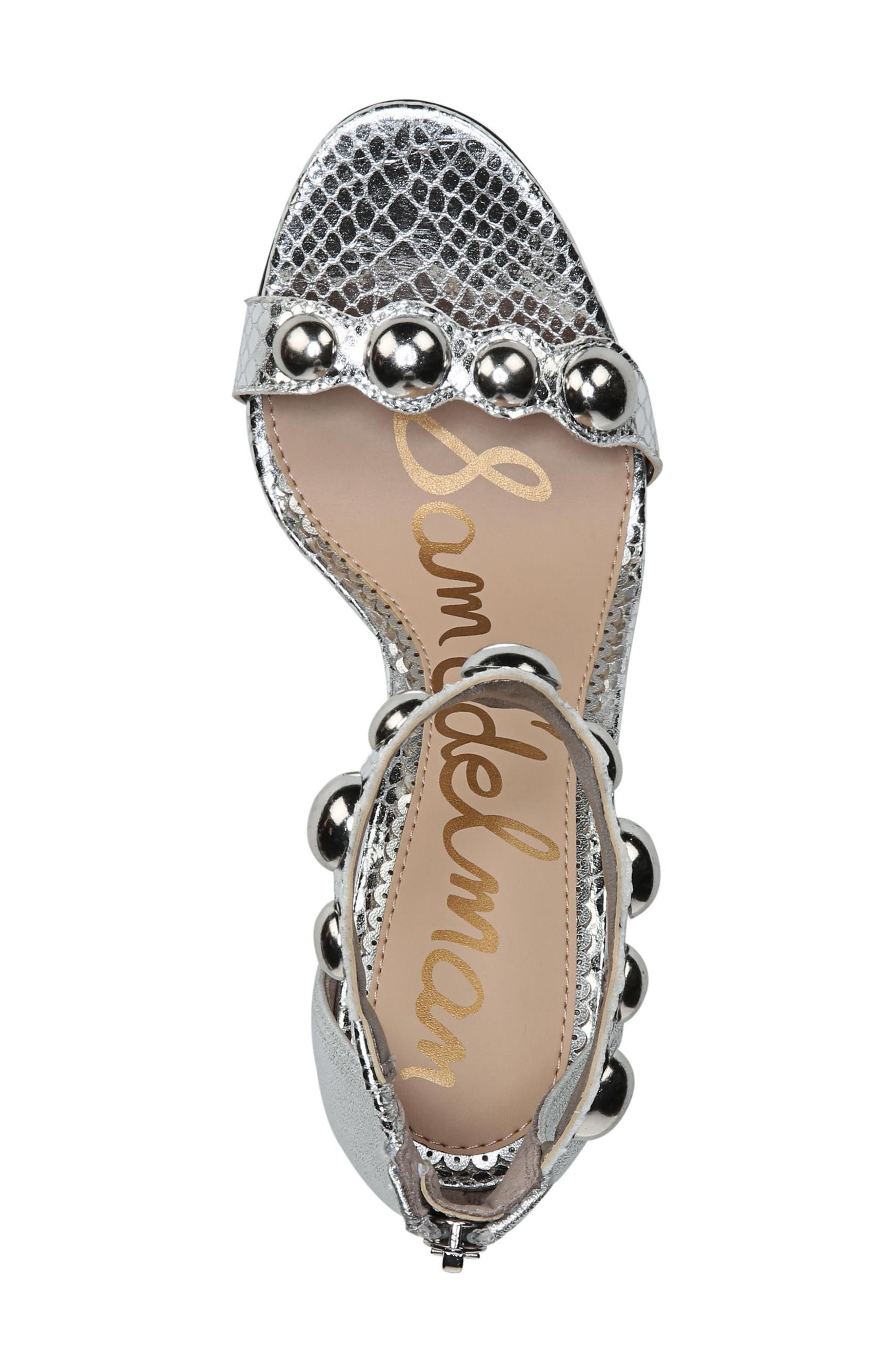 Sam Edelmen Addison Embellished Ankle Strap Sandal,                             Alternate thumbnail 5, color,                             Soft Silver