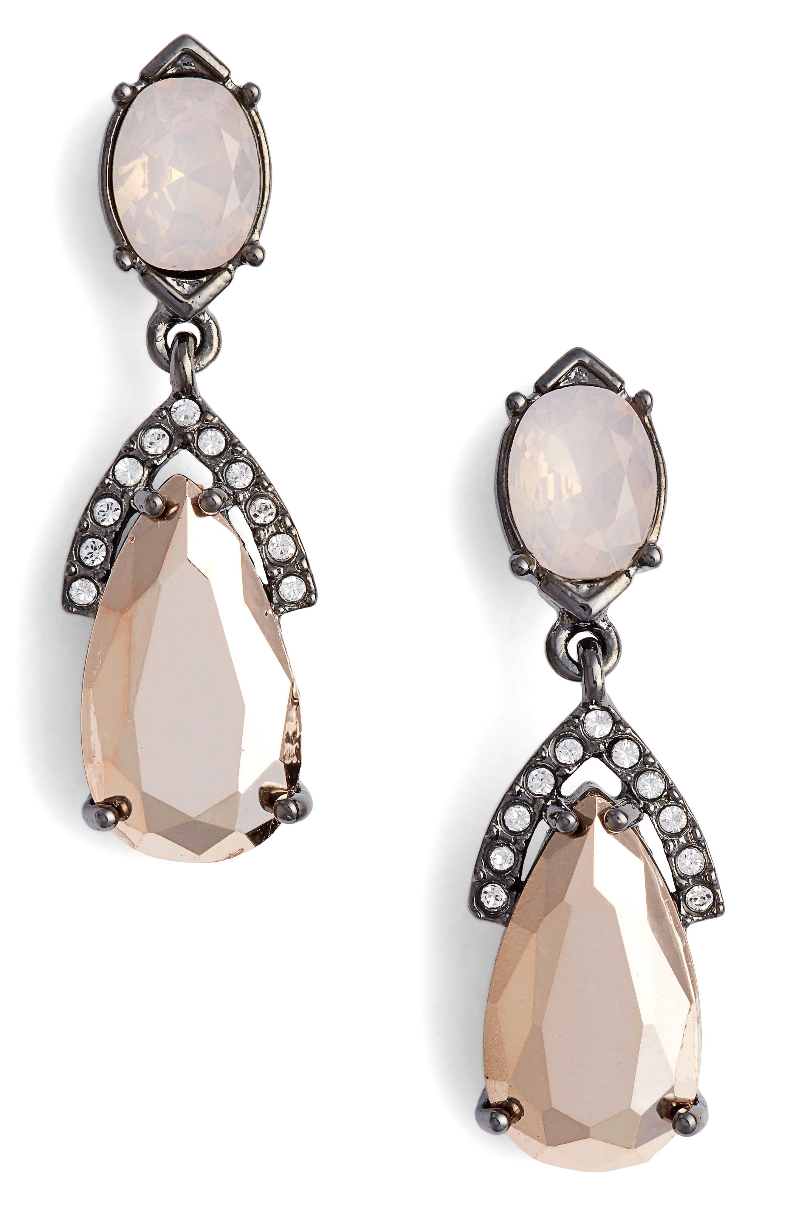Double Drop Earrings,                             Main thumbnail 1, color,                             Blush/ Crystal