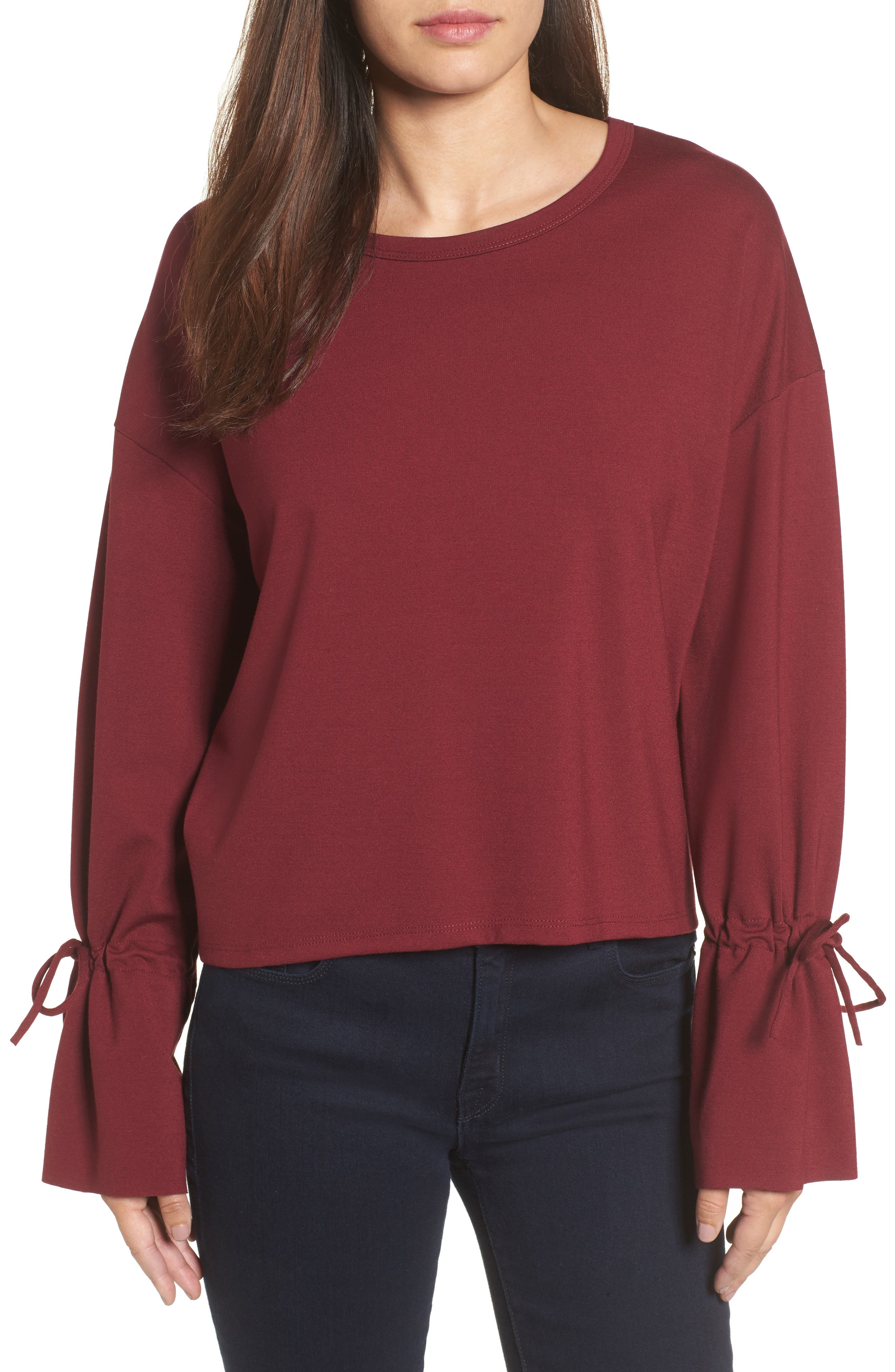 Halogen® Cinch Cuff Sweatshirt (Regular & Petite)