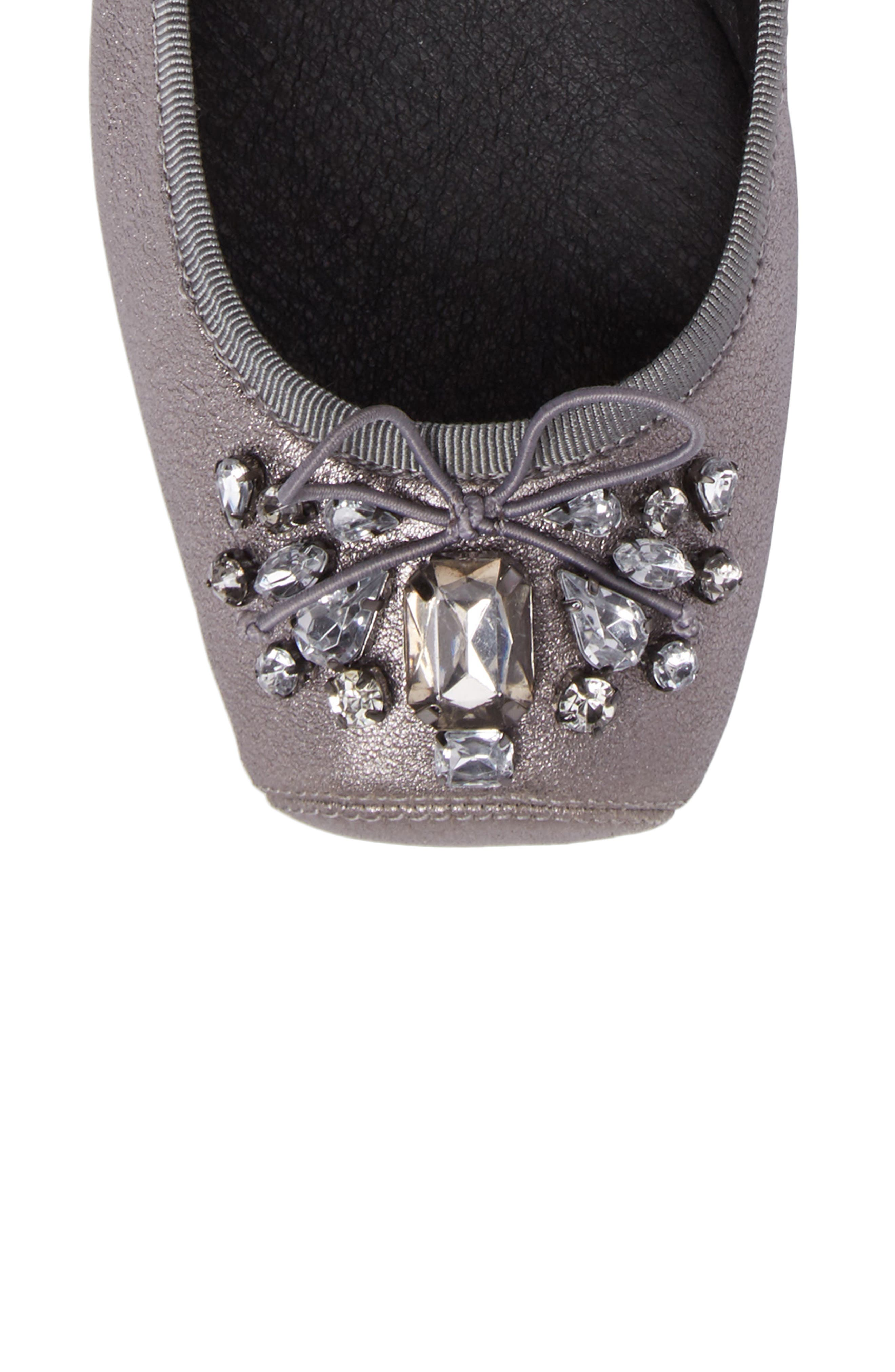 Miaha Embellished Blunt Toe Flat,                             Alternate thumbnail 4, color,                             Alloy Leather