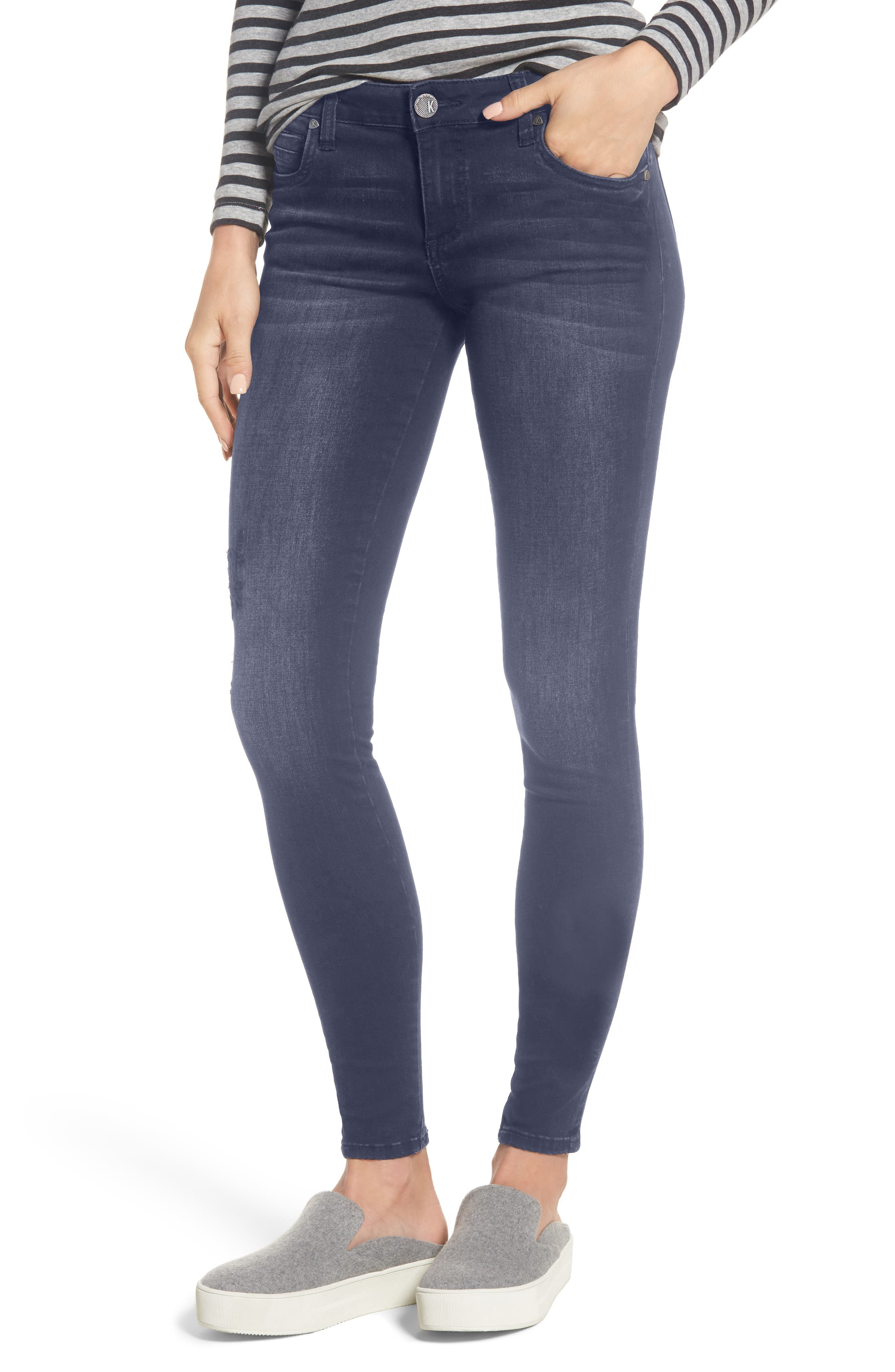 KUT from the Kloth Mia Embroidered Skinny Jeans (Quintessential) (Regular & Petite)