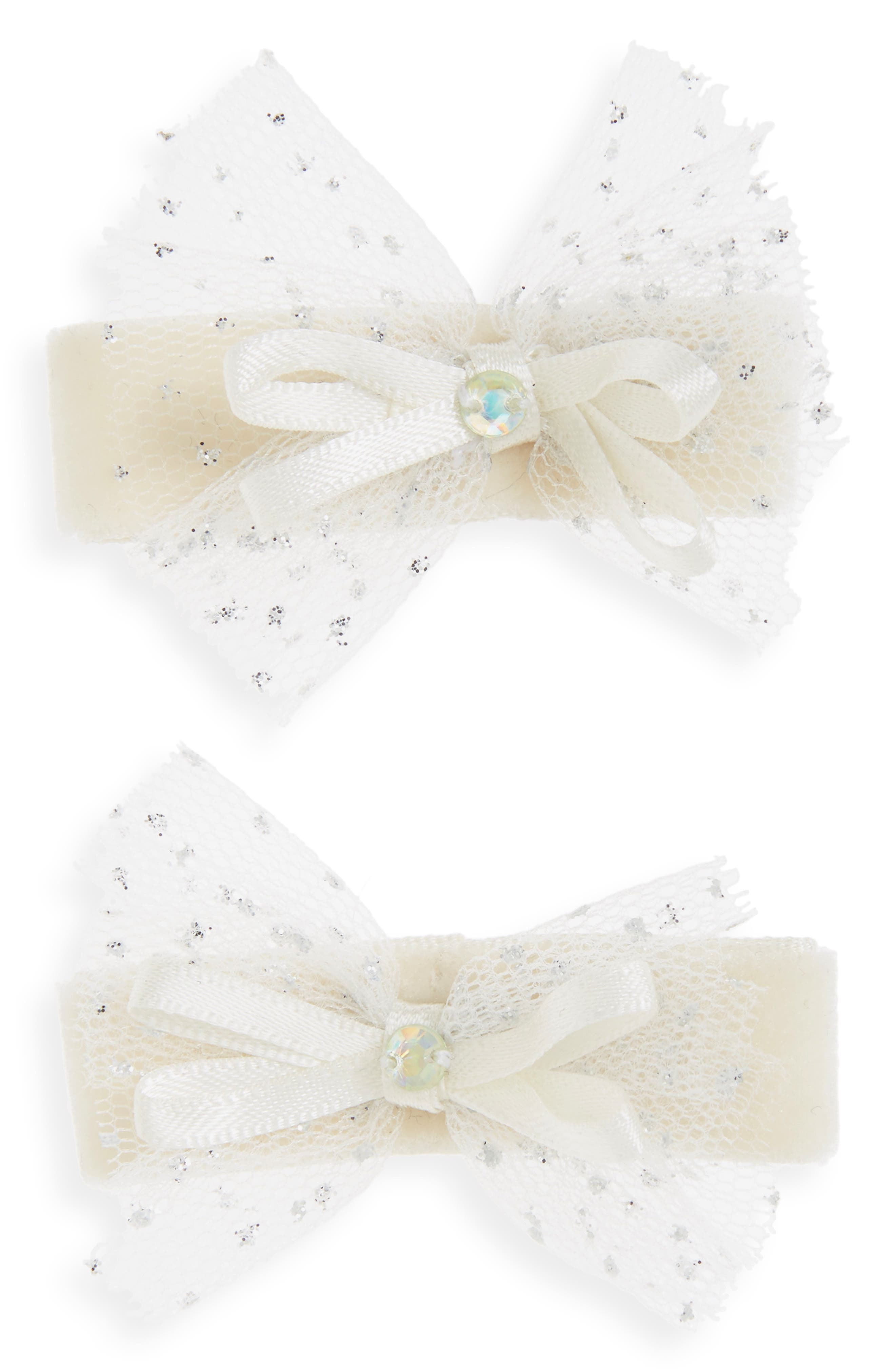 2-Pack Tulle Bow Clips,                             Main thumbnail 1, color,                             Ivory