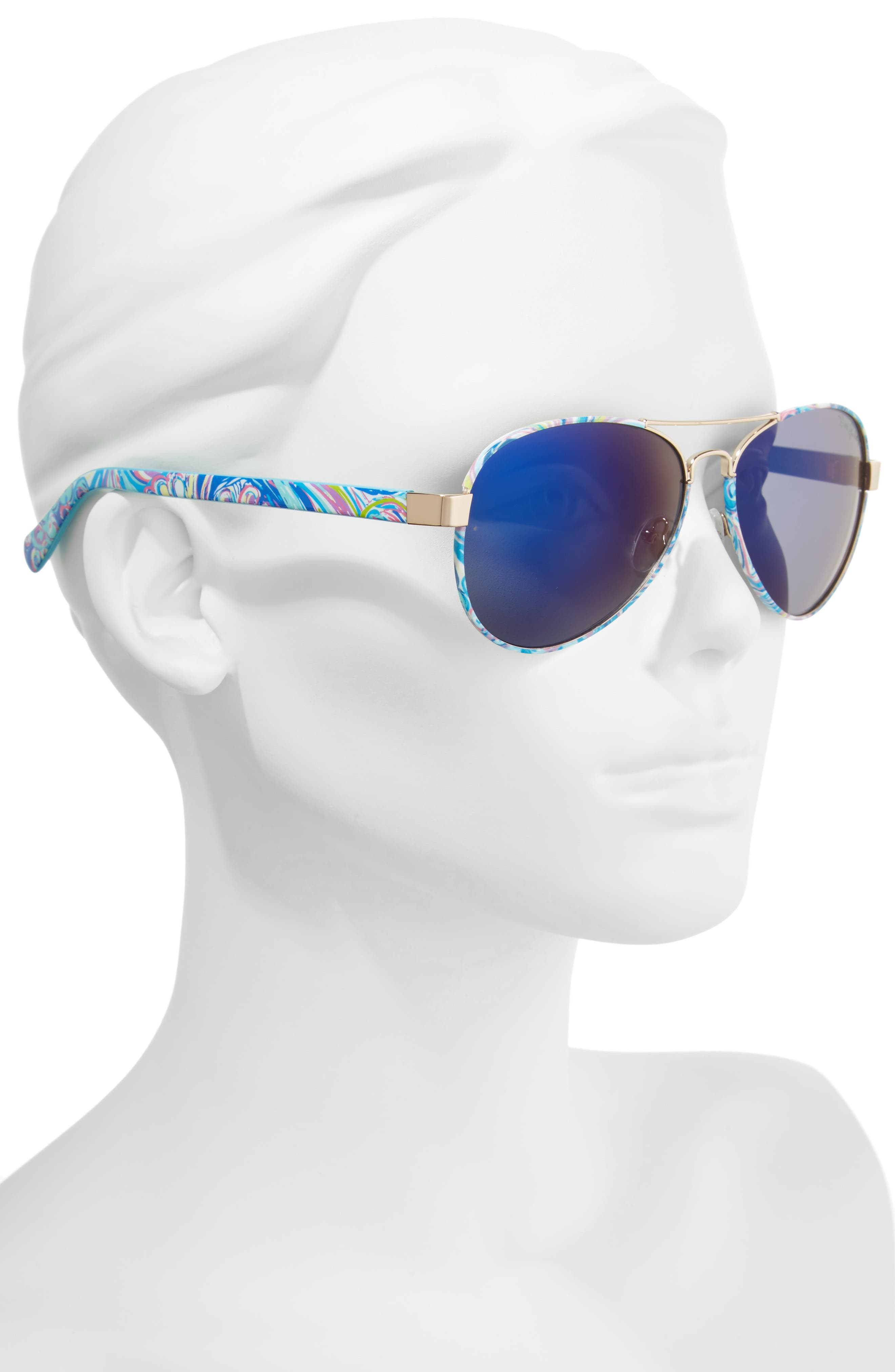 Ainsley 59mm Polarized Aviator Sunglasses,                             Alternate thumbnail 2, color,                             Gold/ Guilty Pleasure