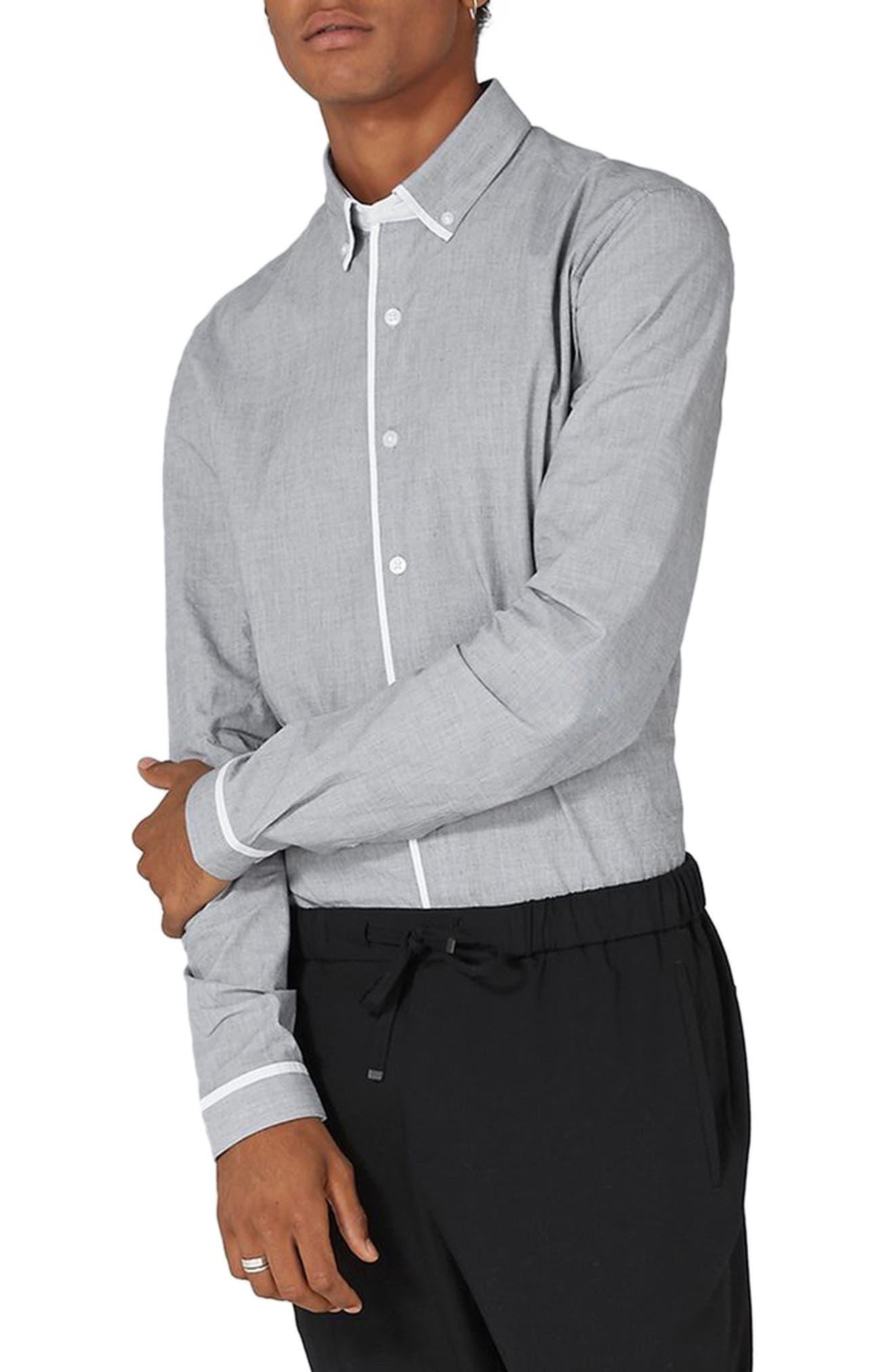 Leeson Slim Fit Smart Shirt,                         Main,                         color, Grey Multi