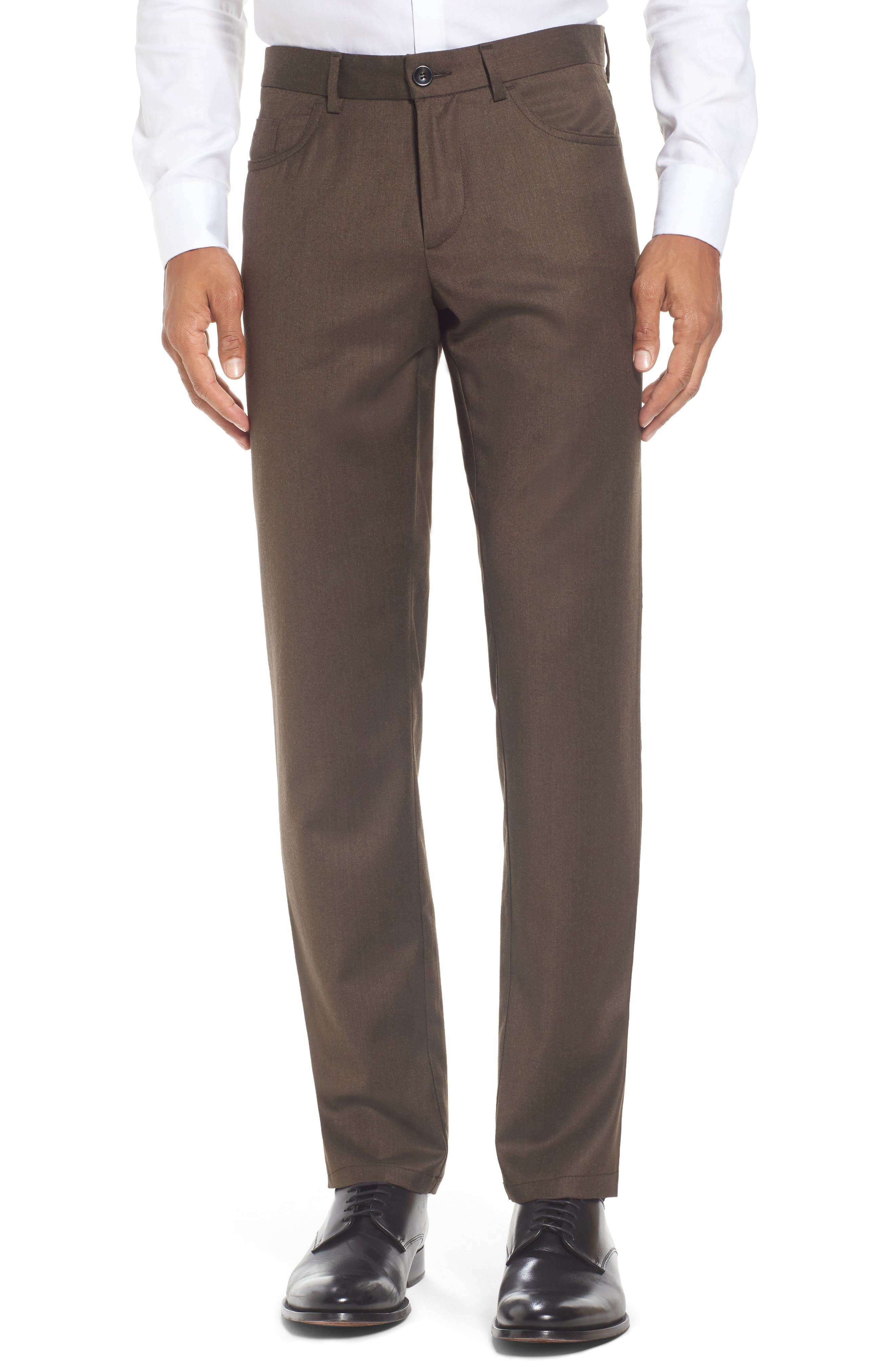 Monte Rosso Flat Front Solid Stretch Wool Trousers