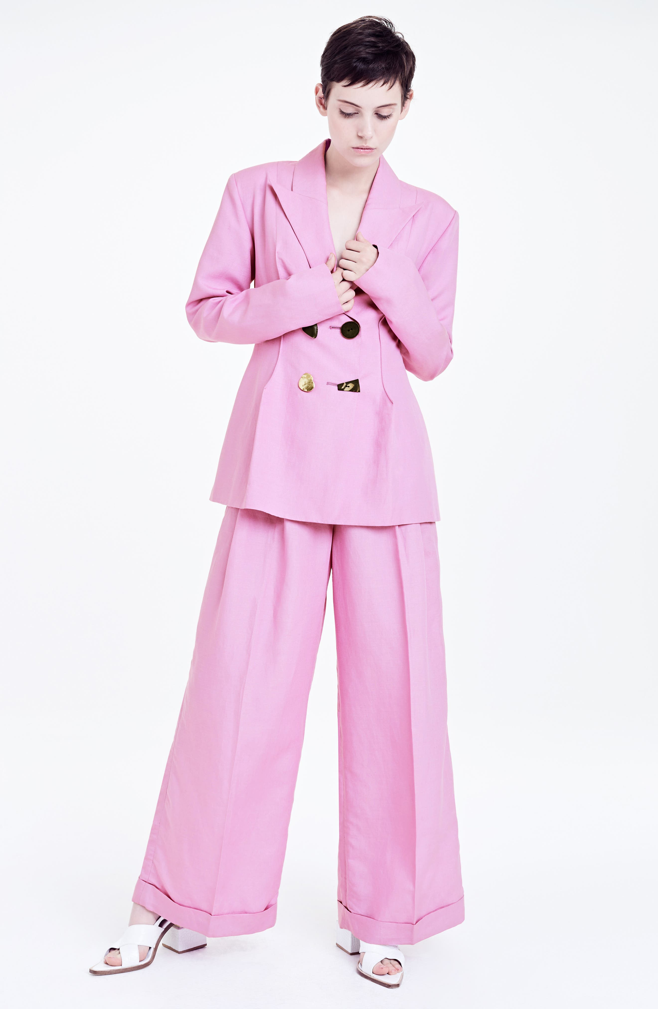 Double Breasted Jacket,                             Alternate thumbnail 9, color,                             Linen Taffy Pink