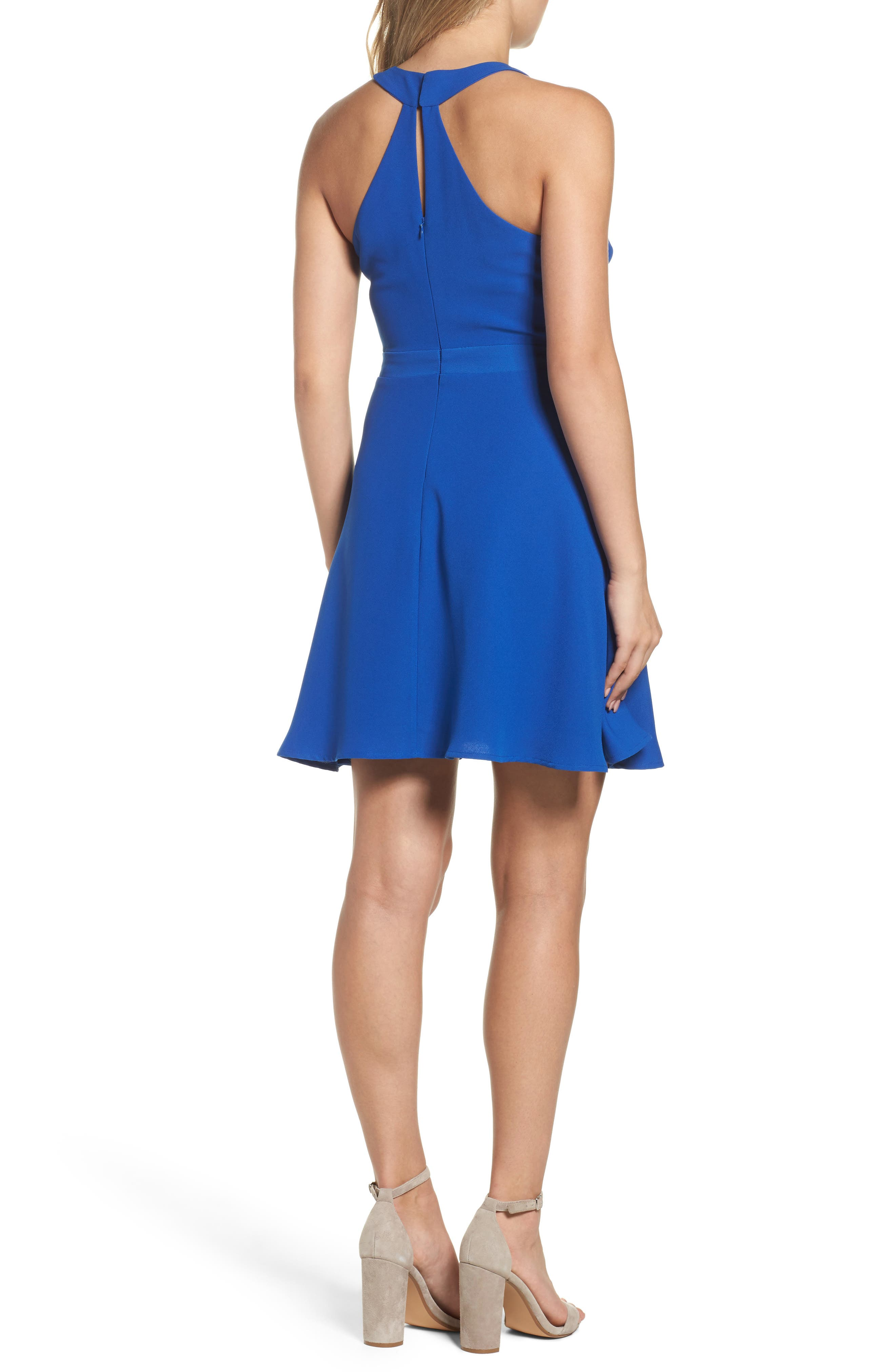 Crepe Skater Dress,                             Alternate thumbnail 2, color,                             Cobalt