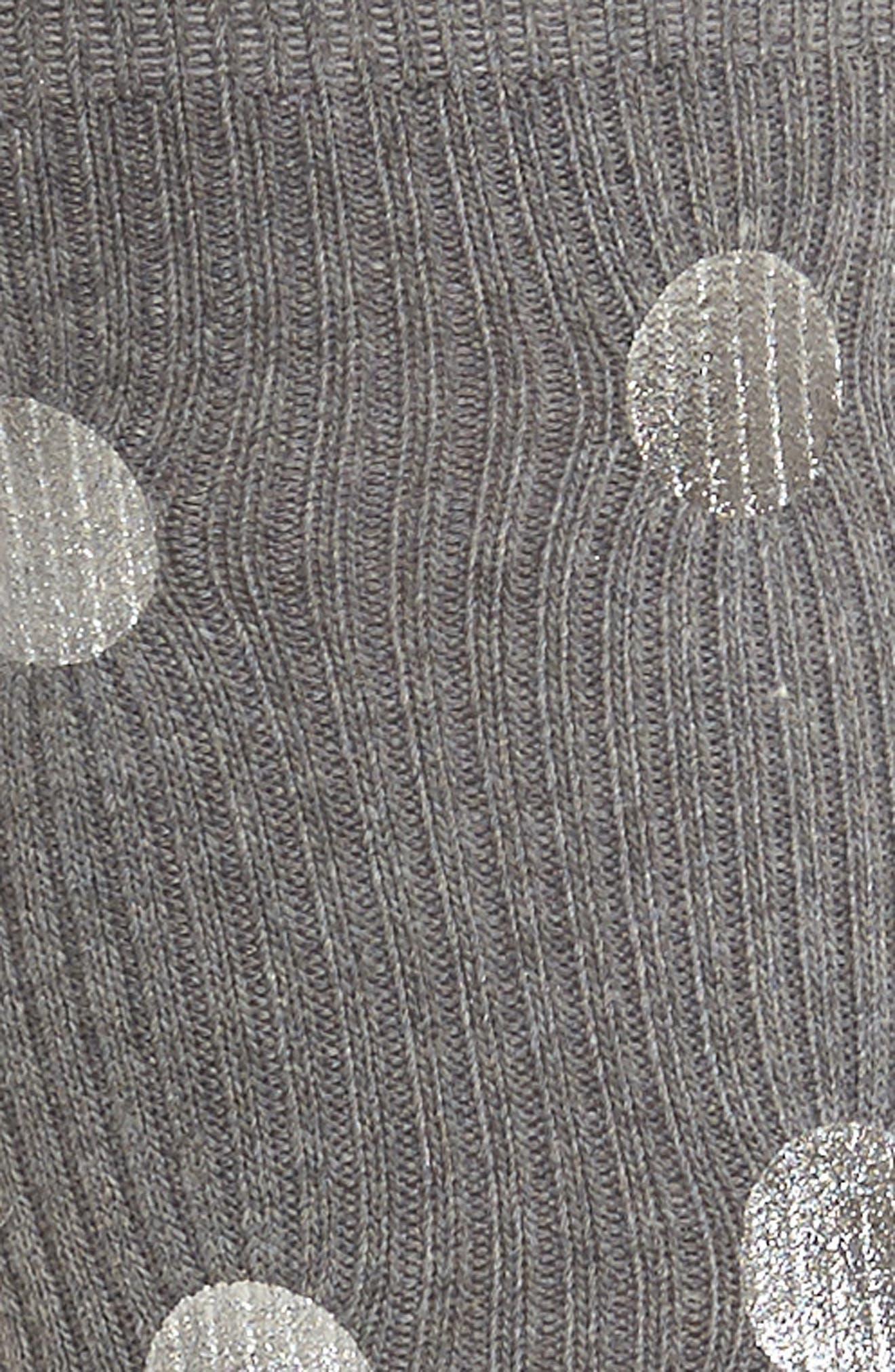 Foil Dot Ribbed Crew Socks,                             Alternate thumbnail 2, color,                             Grey
