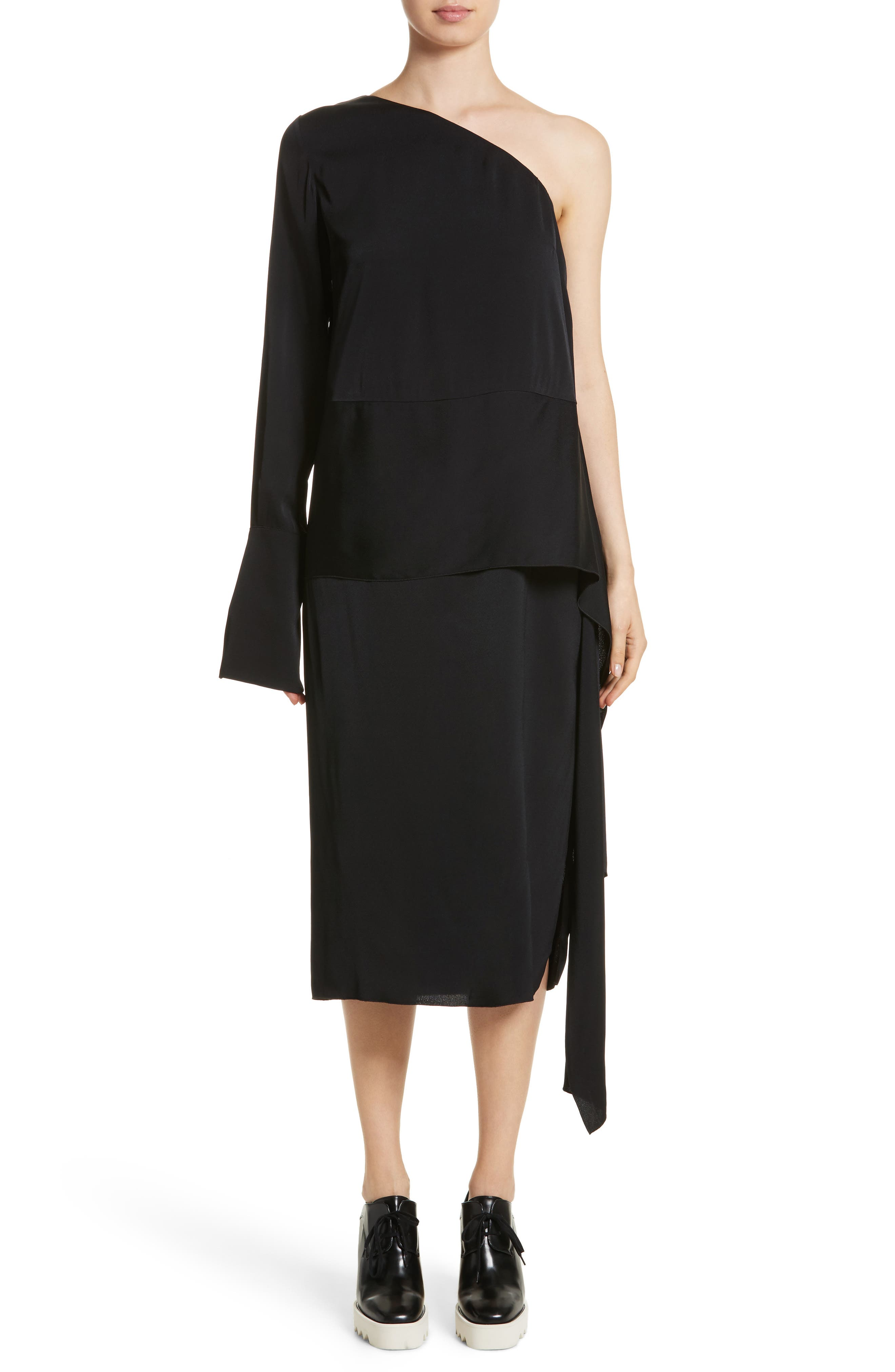 One-Shoulder Draped Cady Dress,                         Main,                         color, Black
