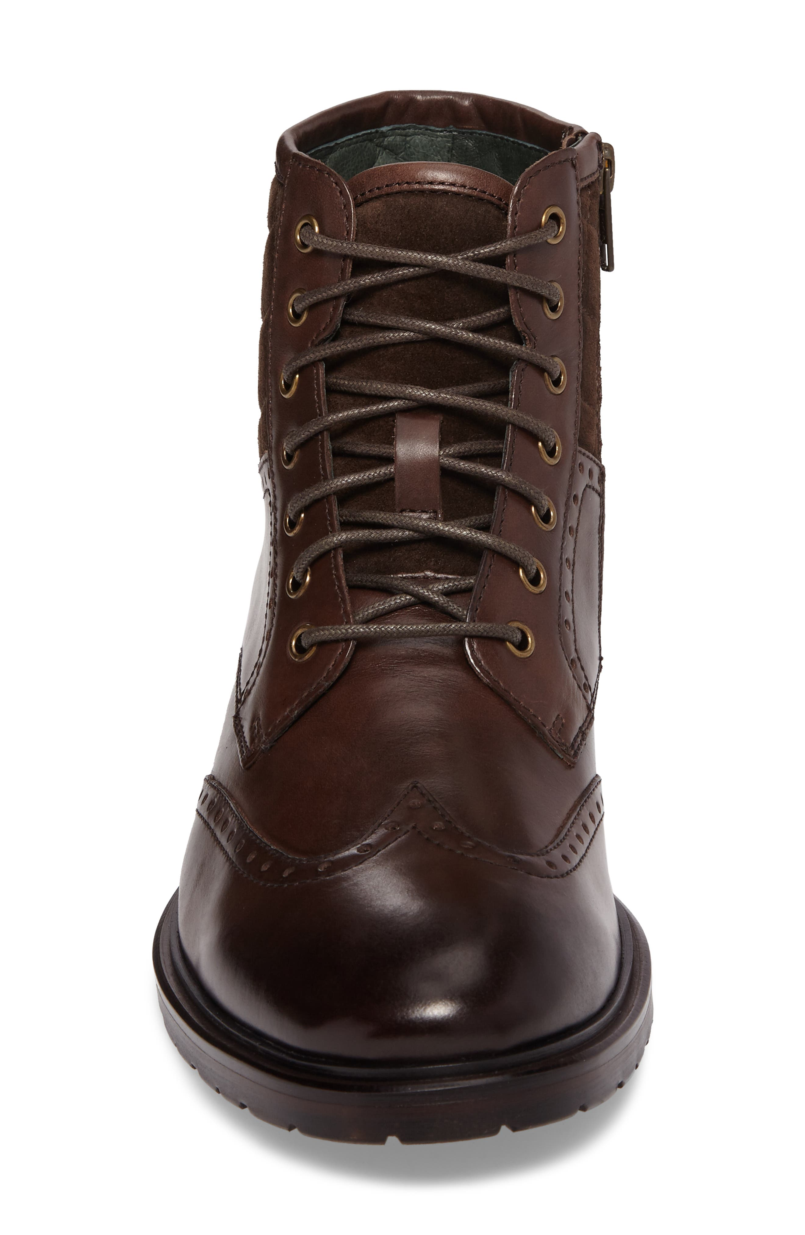 Myles Wingtip Boot,                             Alternate thumbnail 4, color,                             Mahogany Leather