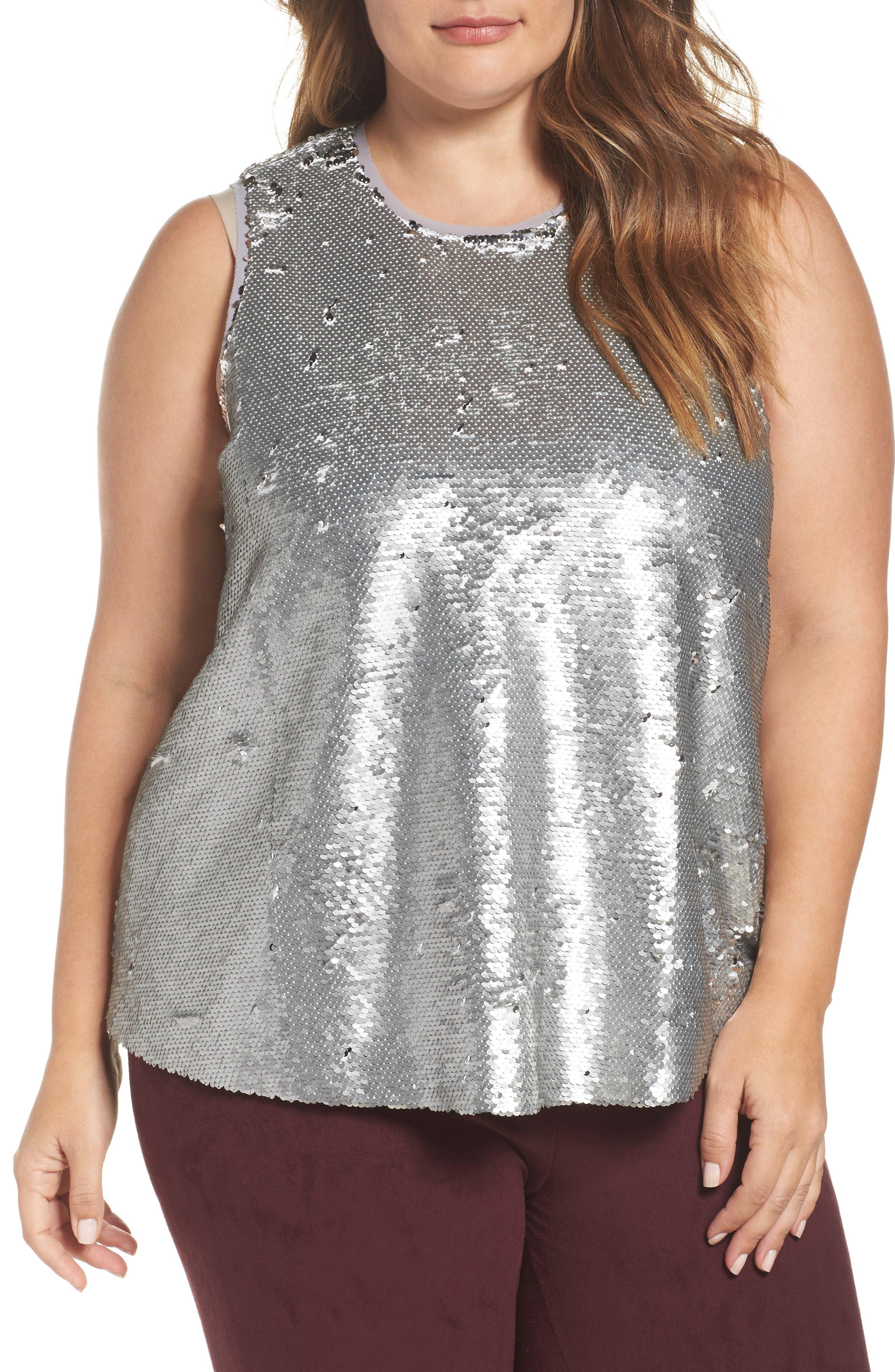 Alternate Image 1 Selected - RACHEL Rachel Roy Sequin Top (Plus Size)