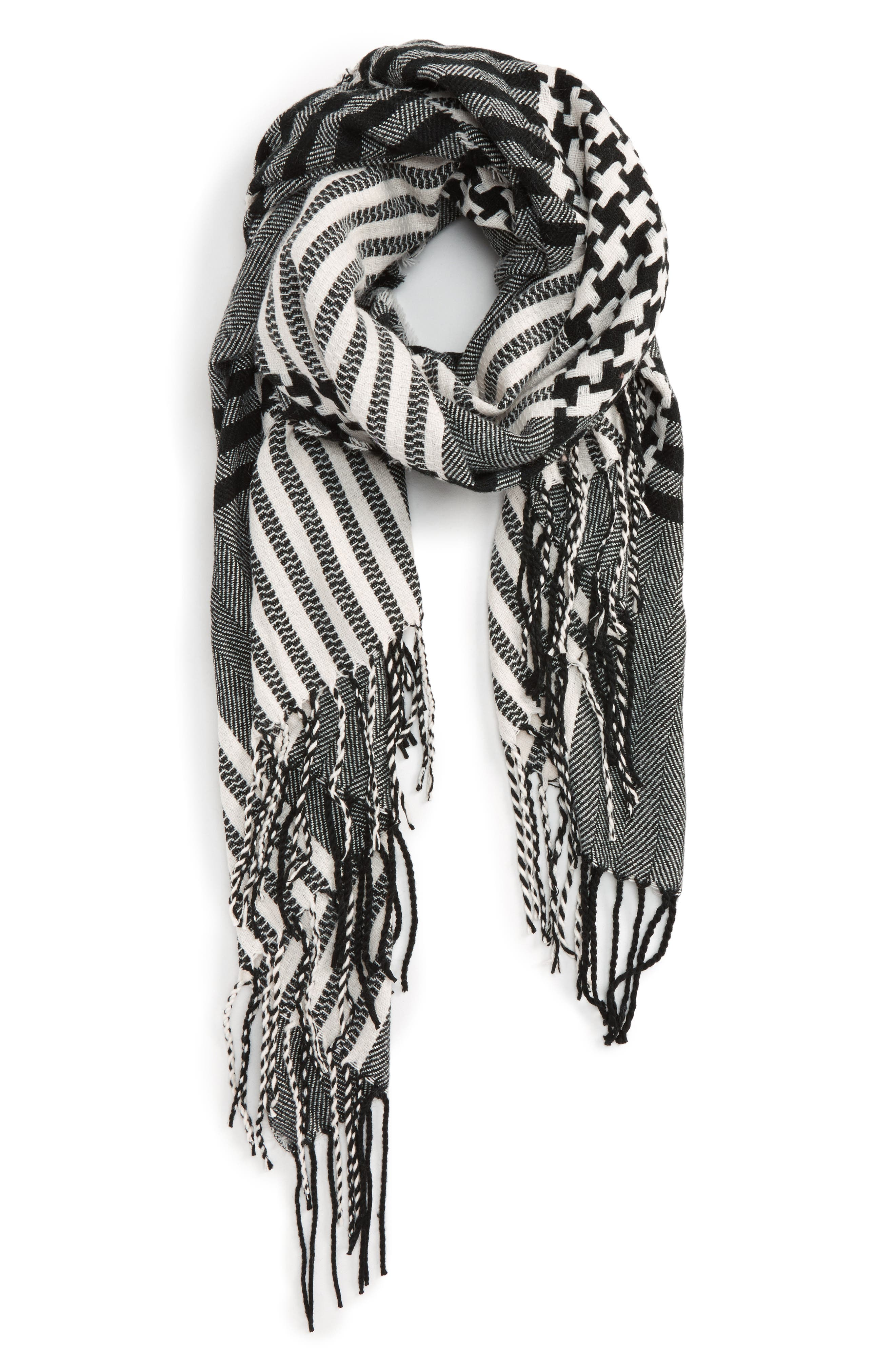 Accessory Collective Houndstooth Plaid Scarf