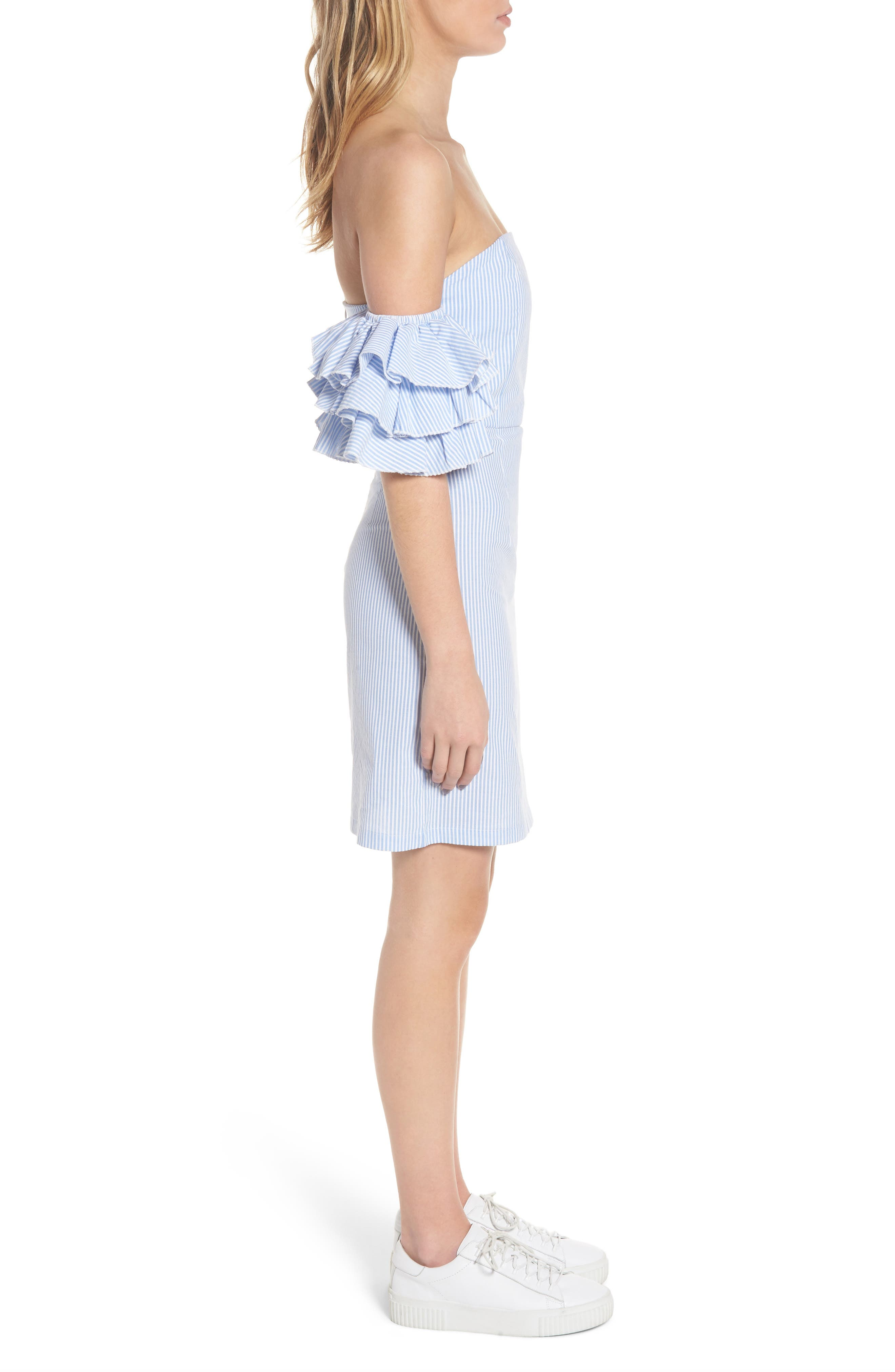 The Malibu Off the Shoulder Dress,                             Alternate thumbnail 5, color,                             Pinstriped Blue
