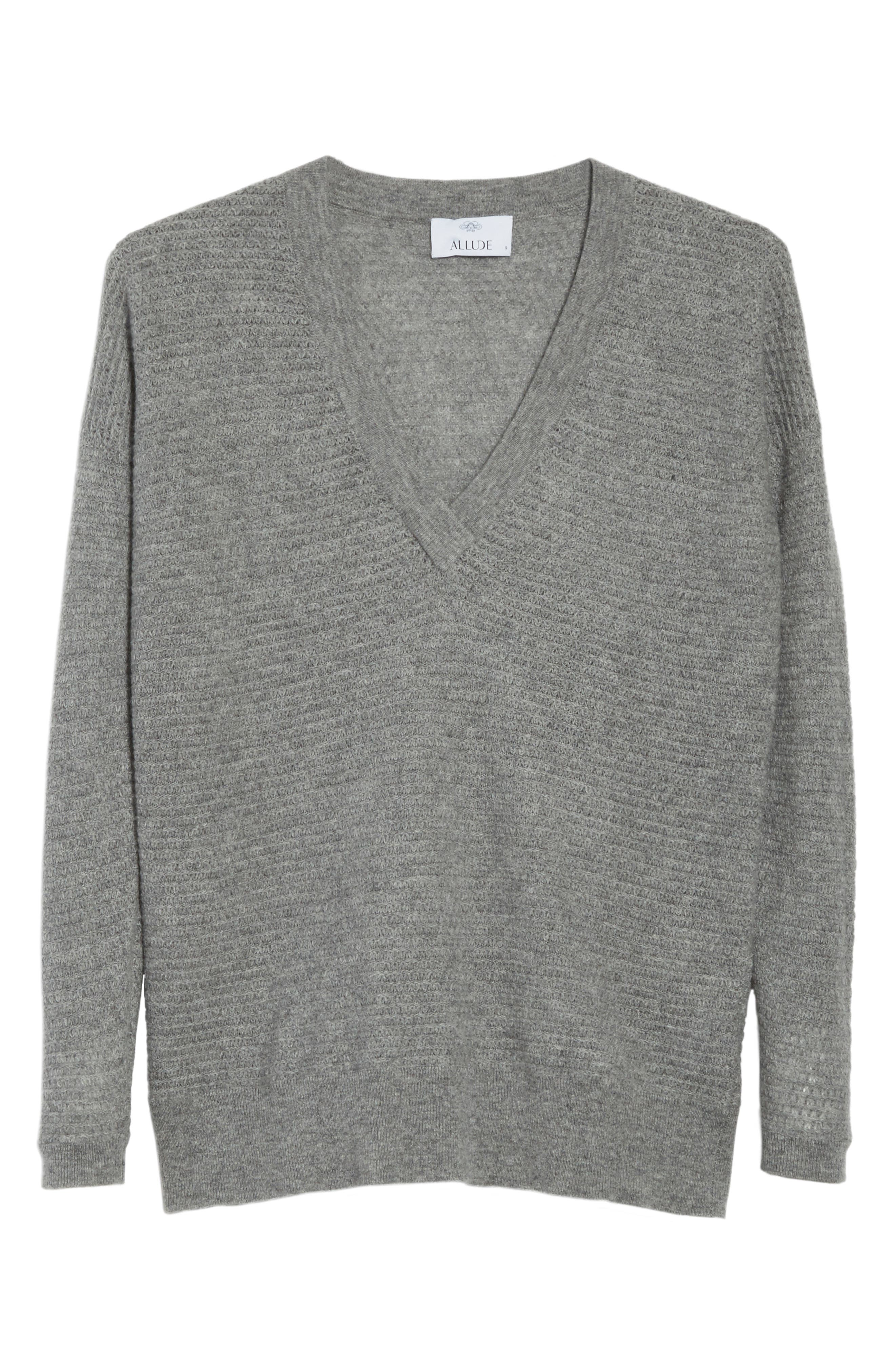 Cashmere V-Neck Sweater,                             Alternate thumbnail 6, color,                             Grey Marl