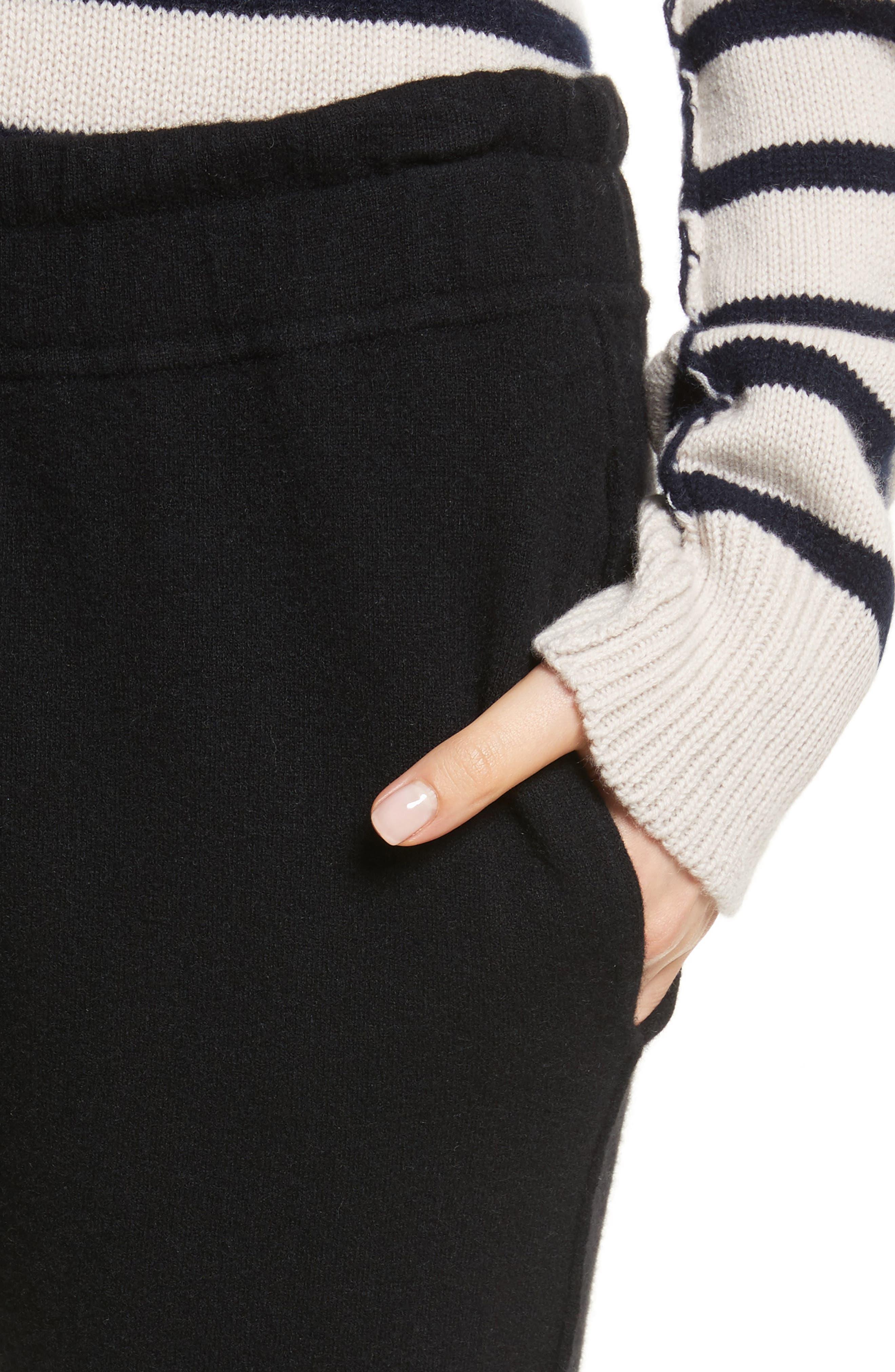 Wool & Cashmere Blend Jogger Pants,                             Alternate thumbnail 4, color,                             Black