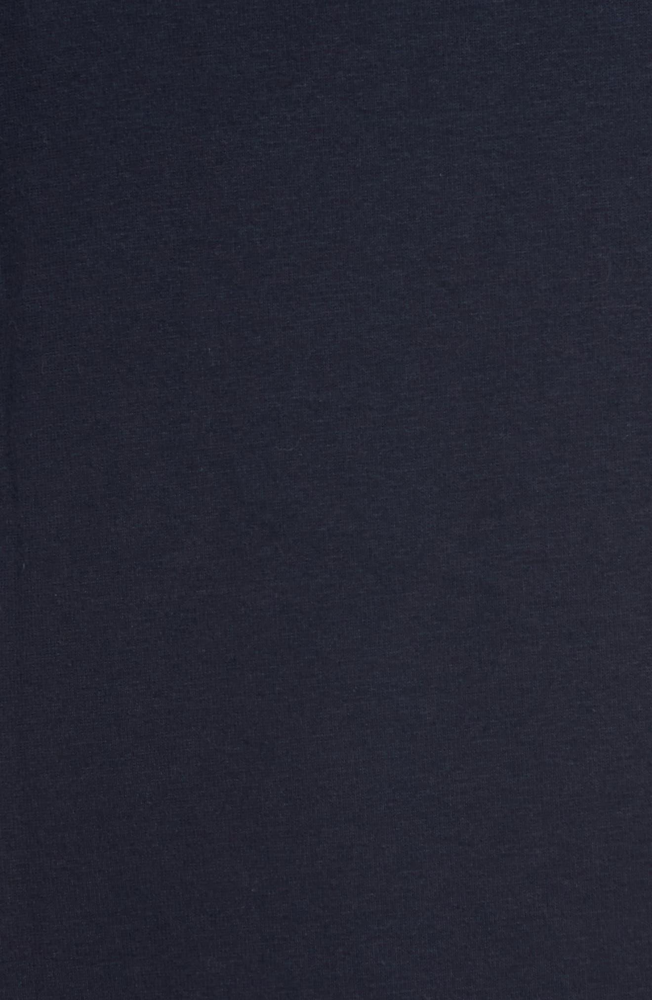 Jersey Fleece Robe,                             Alternate thumbnail 5, color,                             Navy