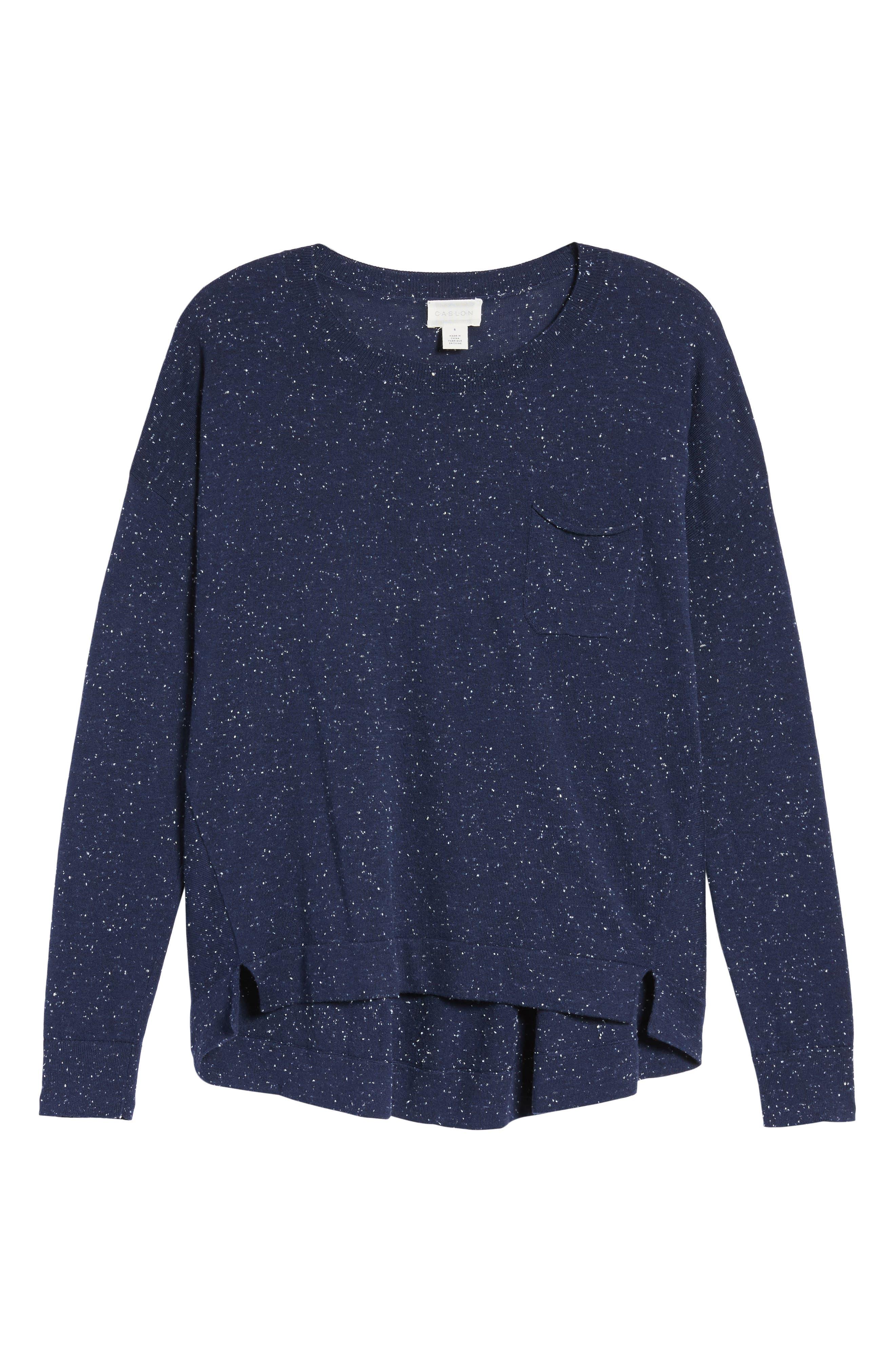 Alternate Image 6  - Caslon® Pleat Back High/Low Crewneck Sweater (Regular & Petite)