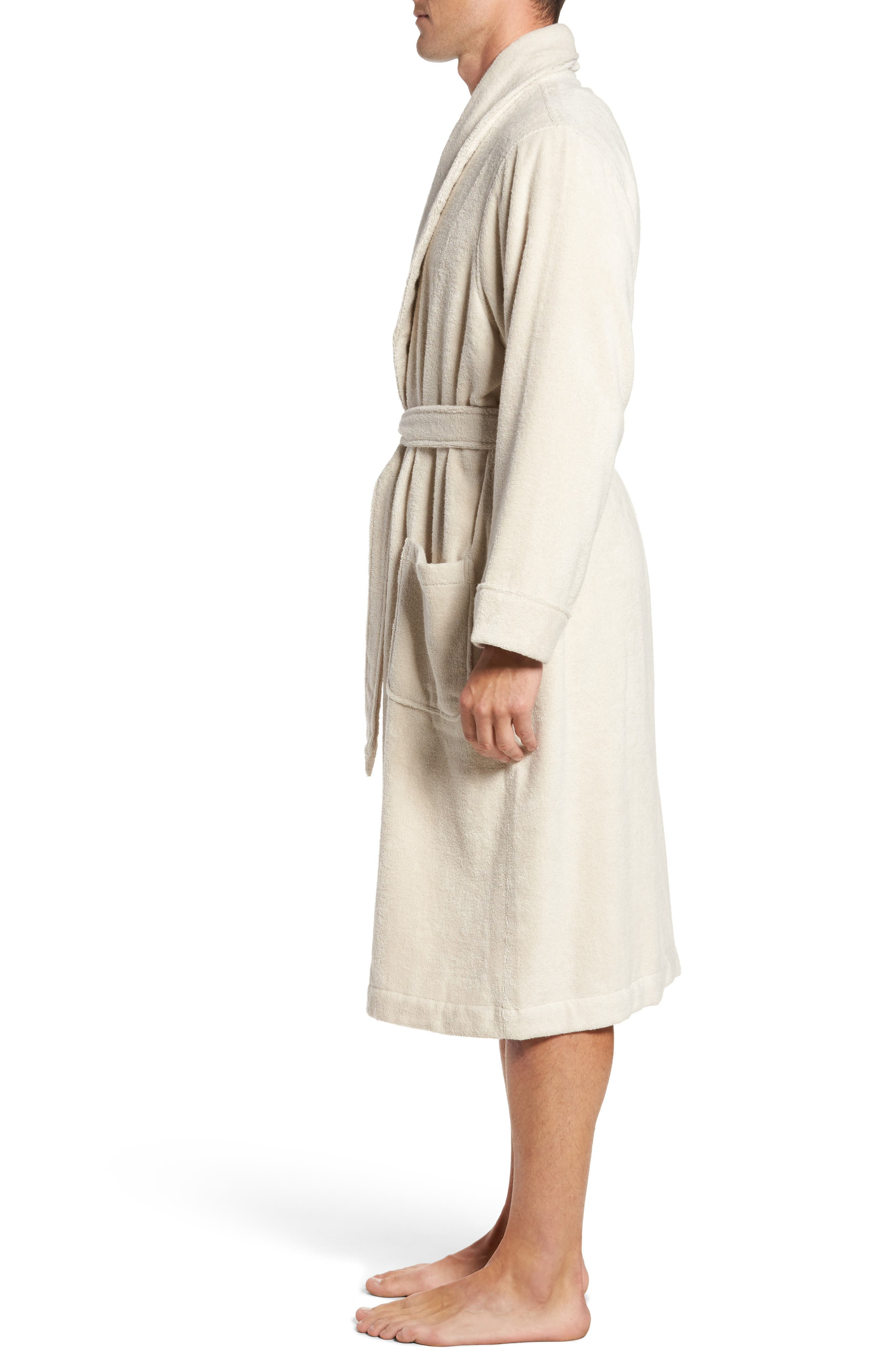 Hydro Cotton Terry Robe,                             Alternate thumbnail 3, color,                             Beige Oatmeal