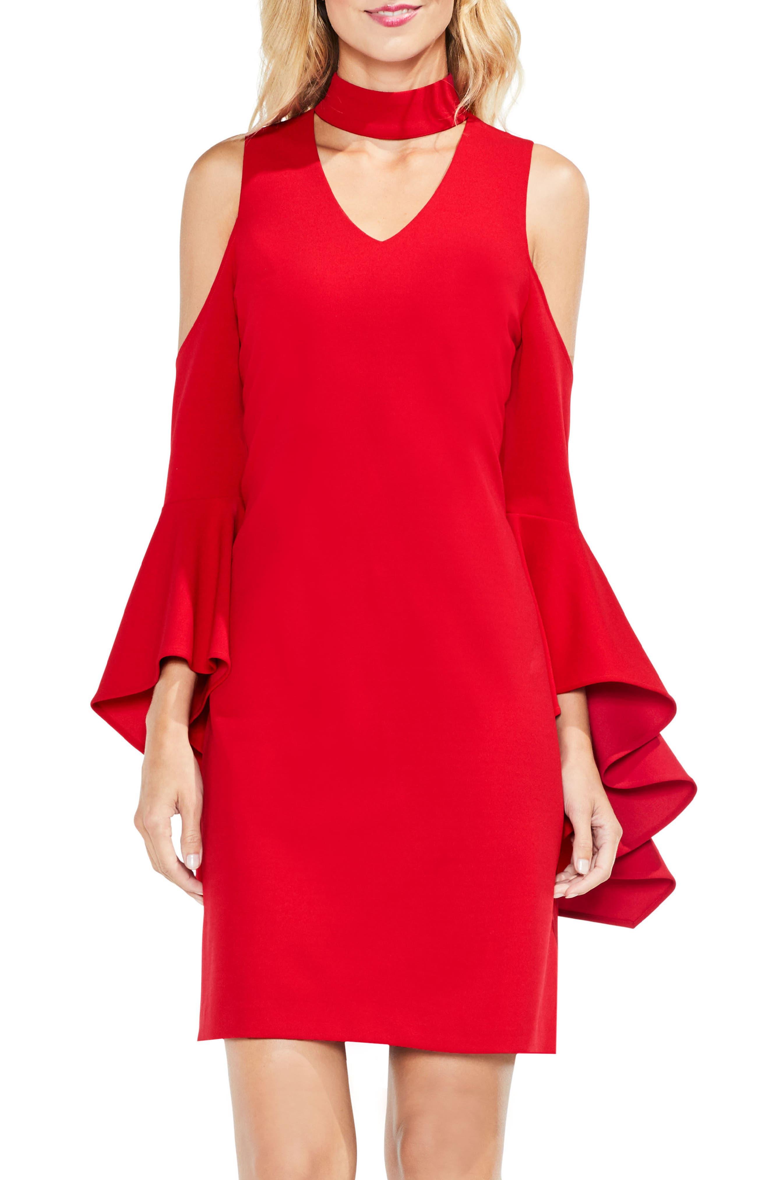 Cold Shoulder Bell Sleeve Dress,                         Main,                         color, True Crimson
