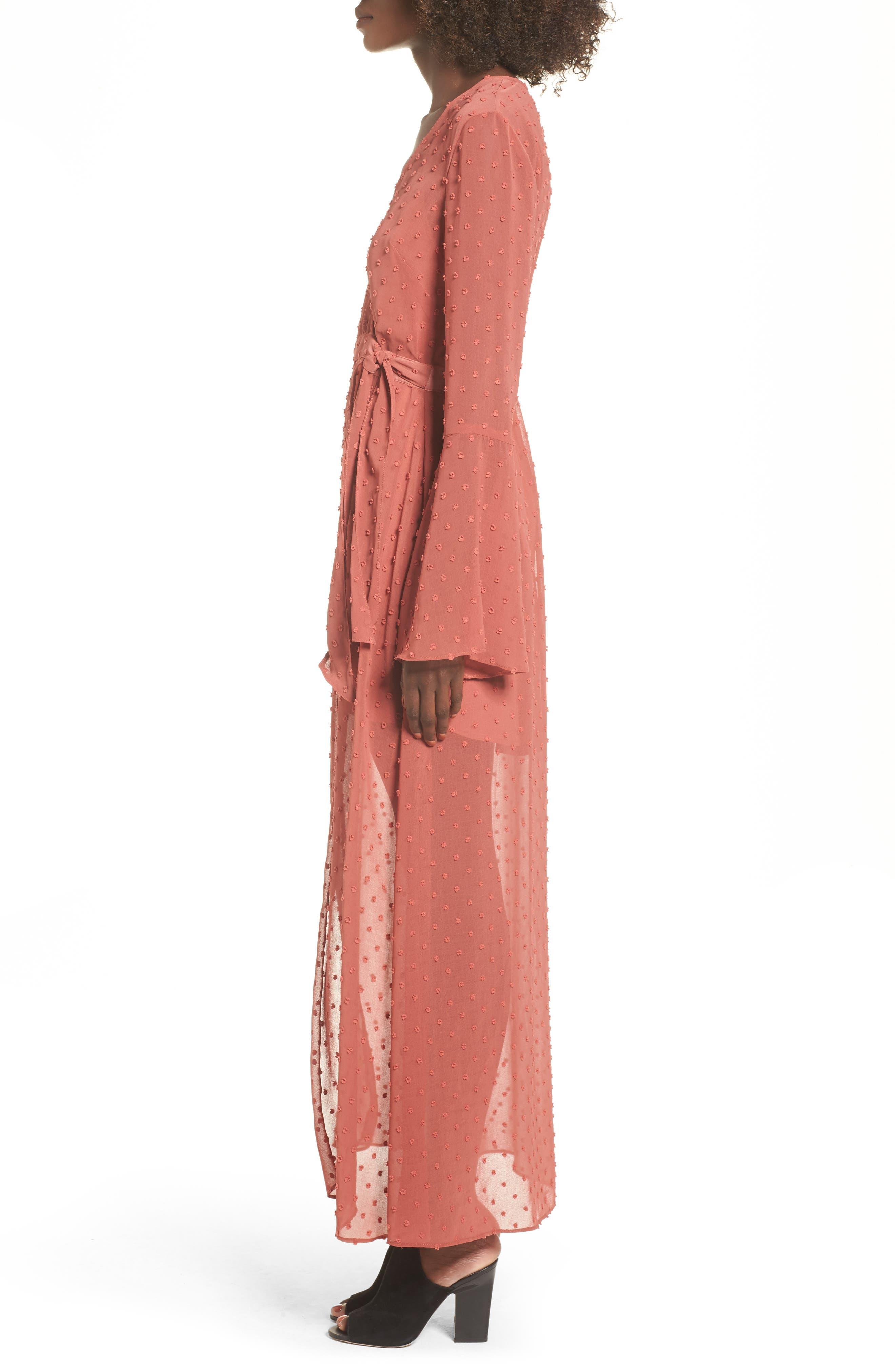 Freya Bell Sleeve Wrap Maxi Dress,                             Alternate thumbnail 4, color,                             Cinnamon